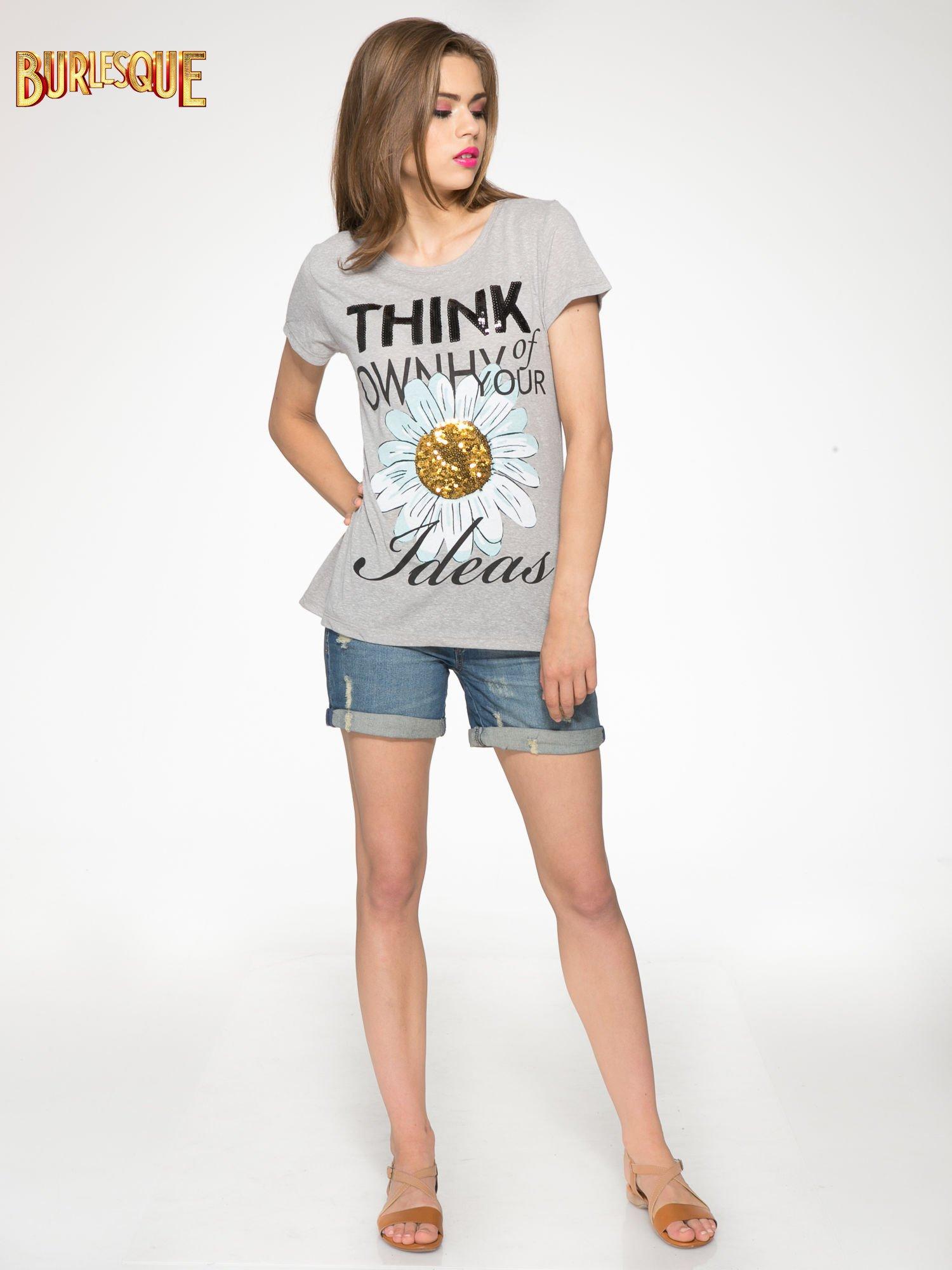 Ciemnoszary t-shirt z nadrukiem stokrotki z dżetami                                  zdj.                                  2