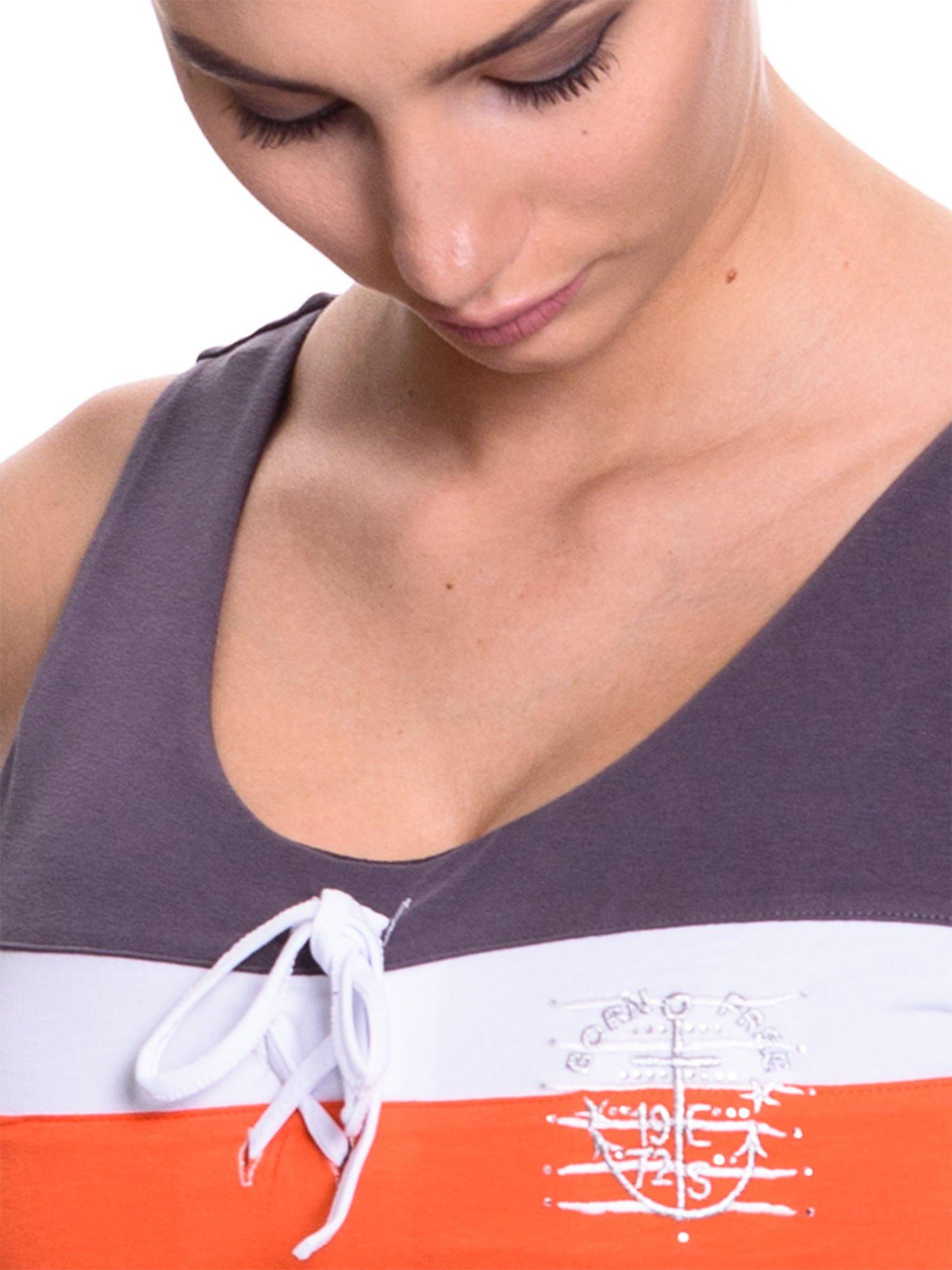 Ciemnoszary top sportowy z wiązaniem w stylu marynarskim                                  zdj.                                  3