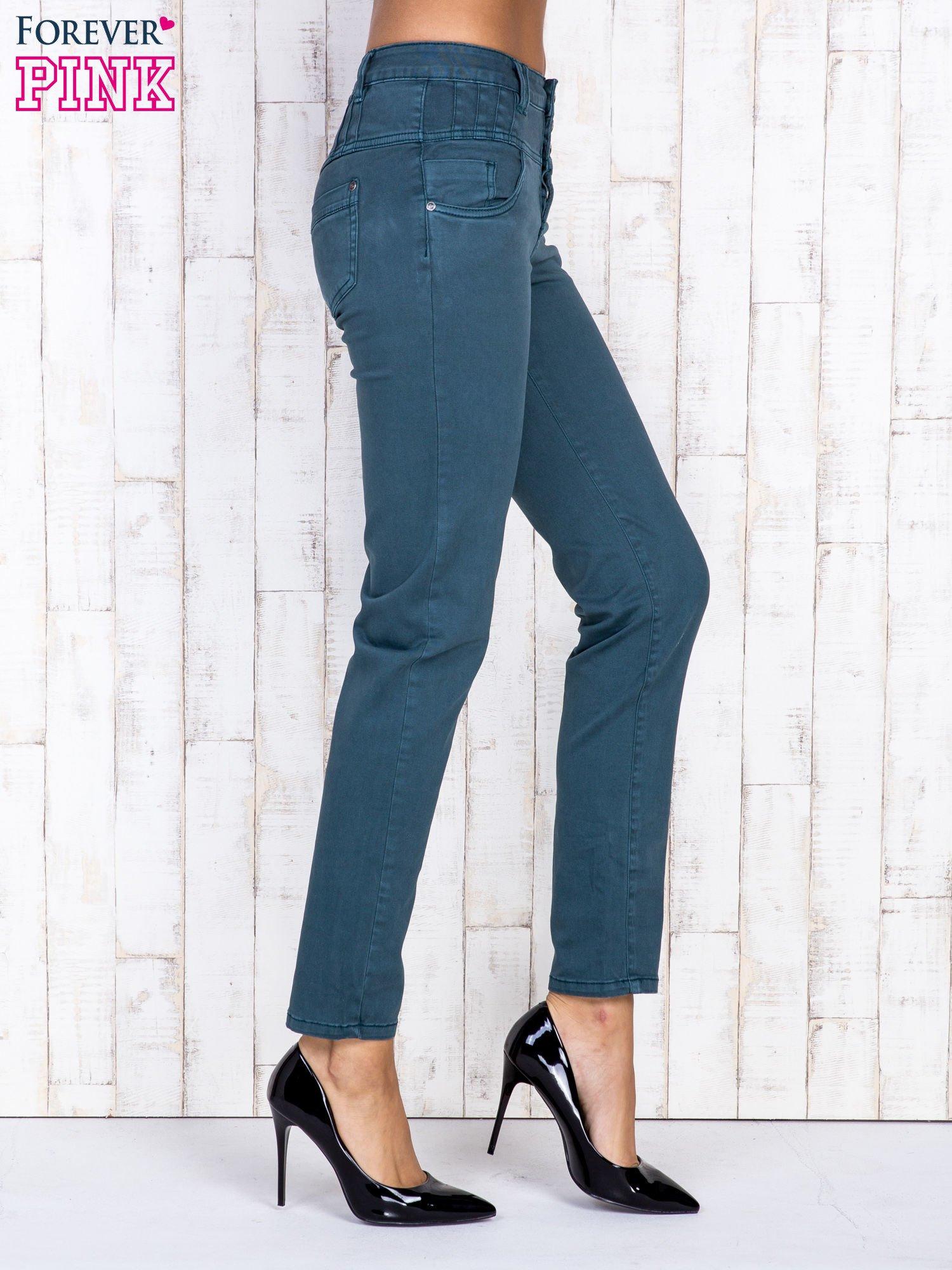Ciemnozielone jeansowe spodnie skinny z wysokim stanem                                  zdj.                                  3
