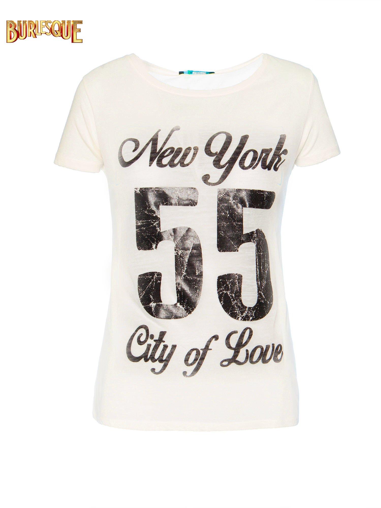 Ciemnyecru t-shirt z napisem NEW YORK CITY OF LOVE 55                                  zdj.                                  1