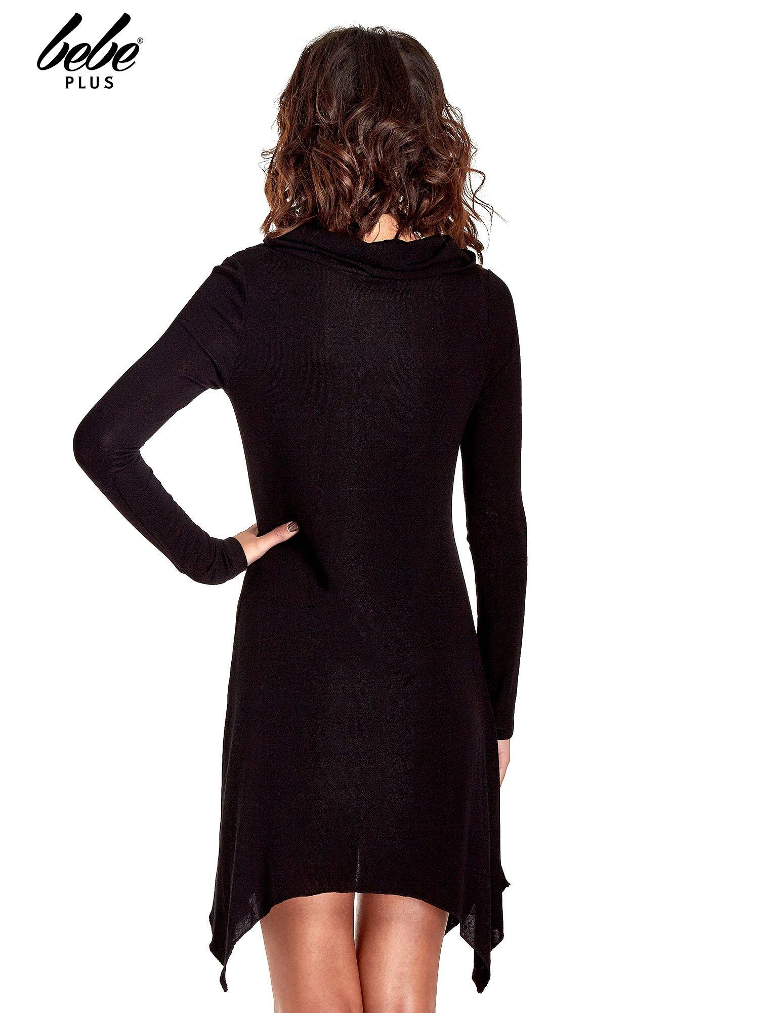 Czarna asymetryczna sukienka ze skórzanymi wstawkami                                  zdj.                                  3