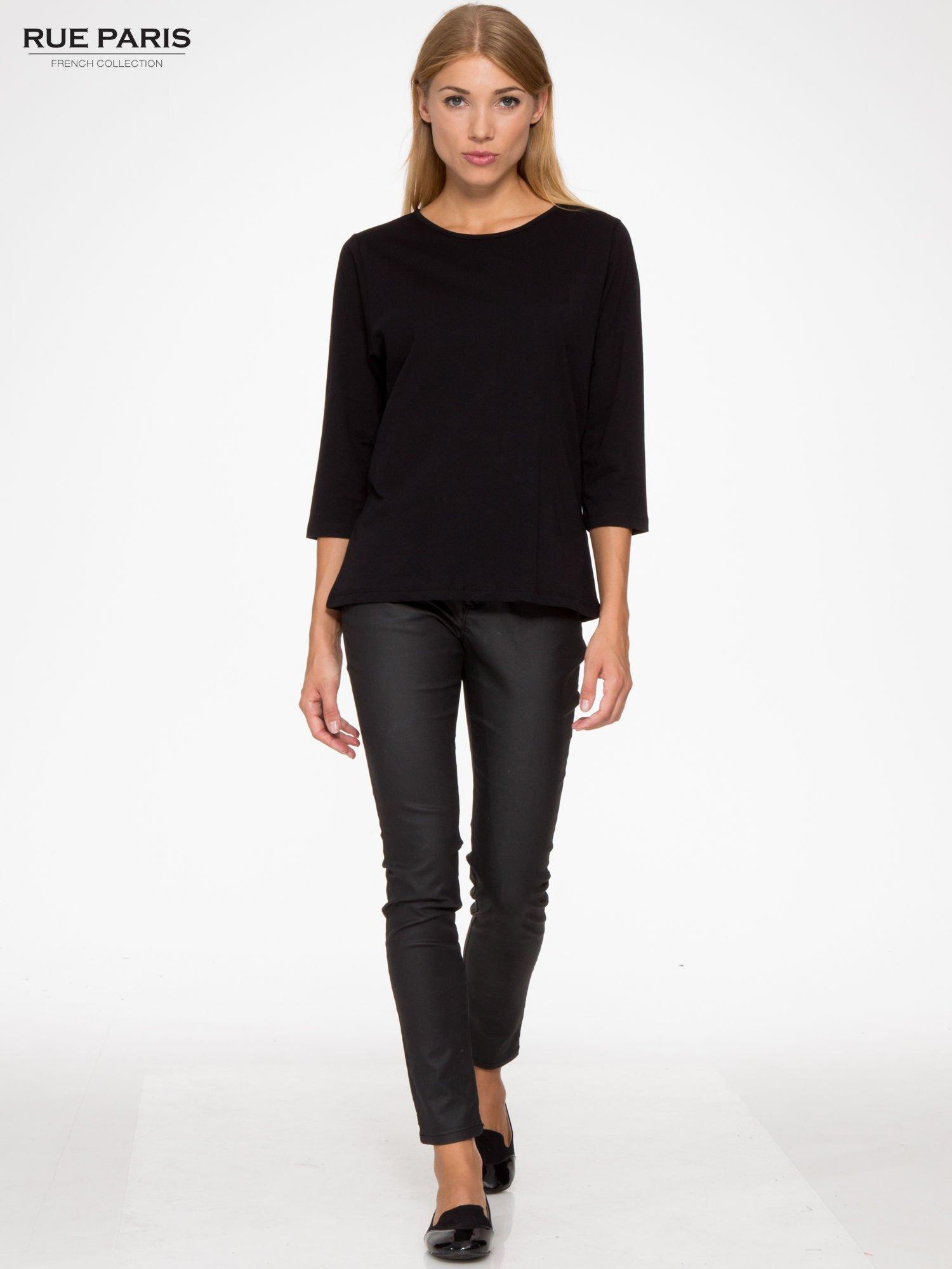 Czarna basicowa bluzka z rękawem 3/4                                  zdj.                                  2