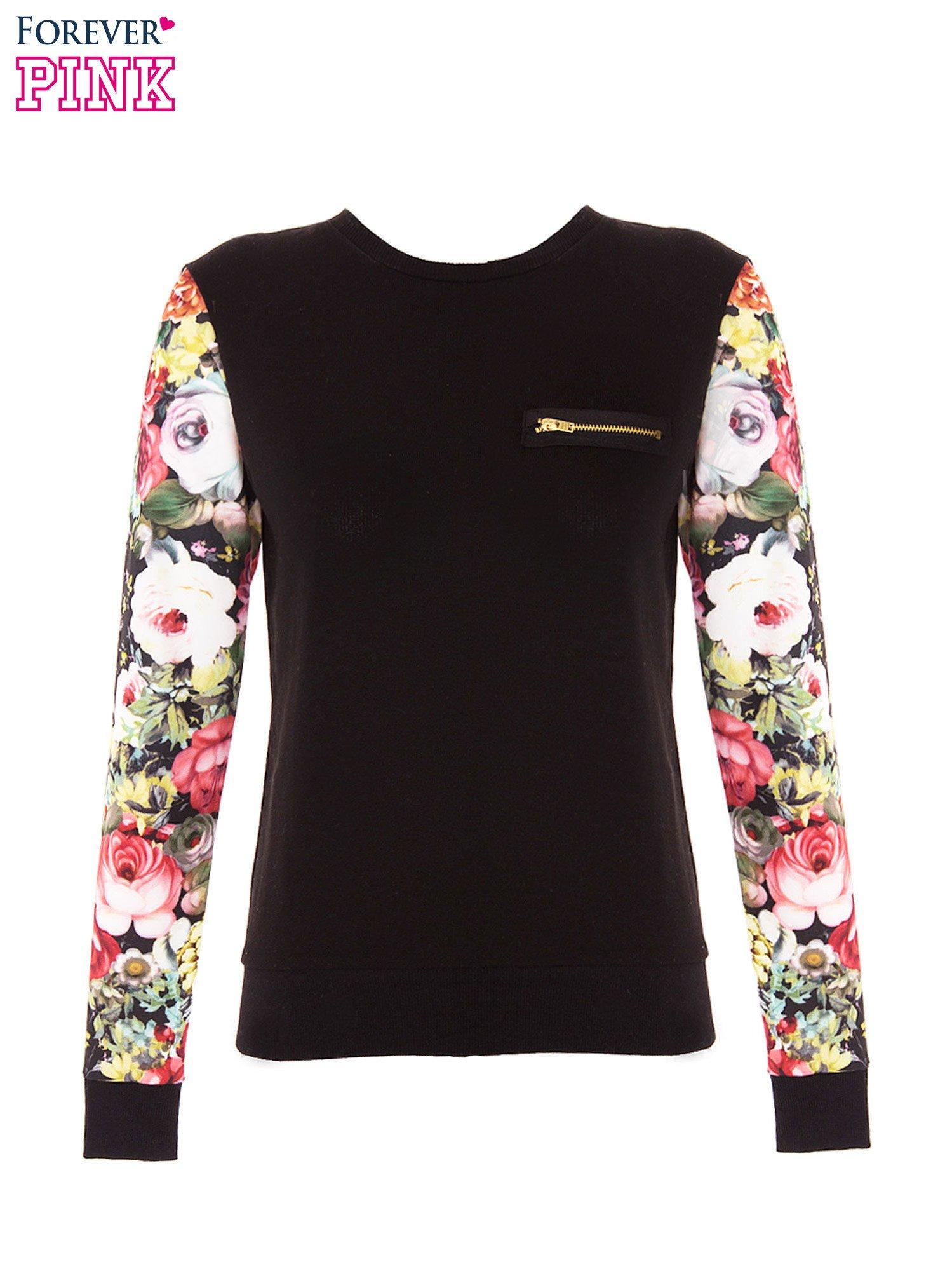 Czarna bluza dresowa z rękawami w motyw kwiatowy                                  zdj.                                  2
