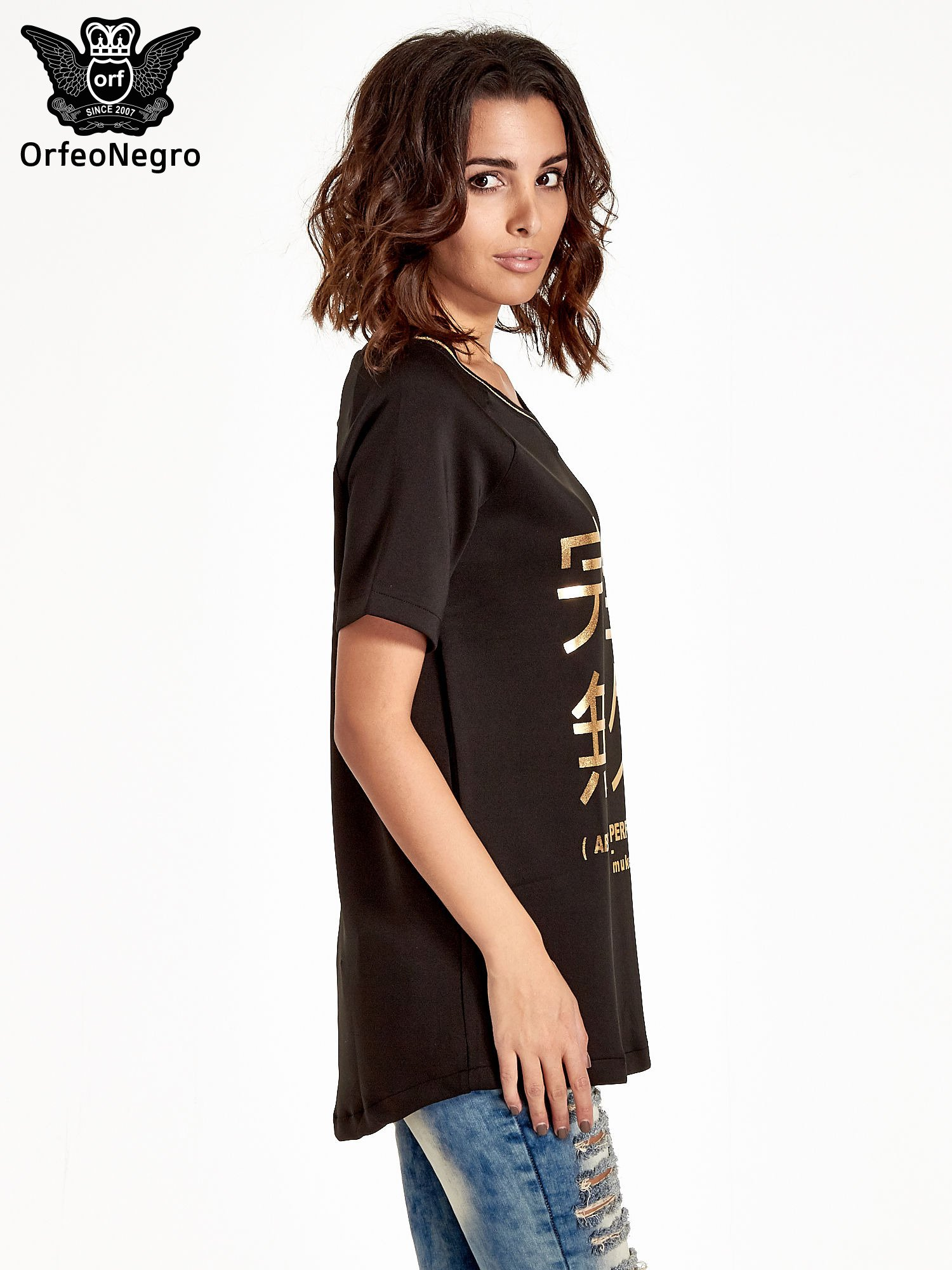 Czarna bluza glamour ze złotymi znakami japońskimi                                  zdj.                                  3