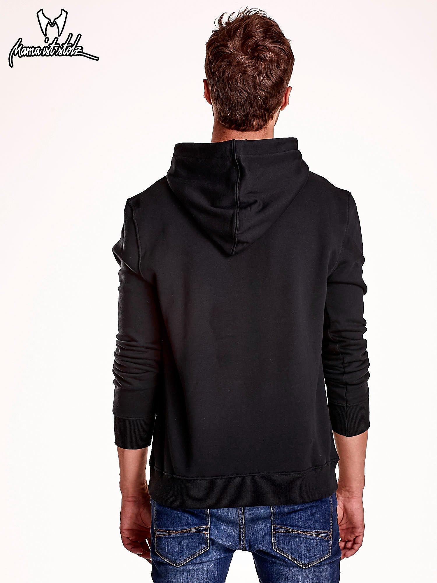 Bluza męska z kapturem i naszywkami czarna