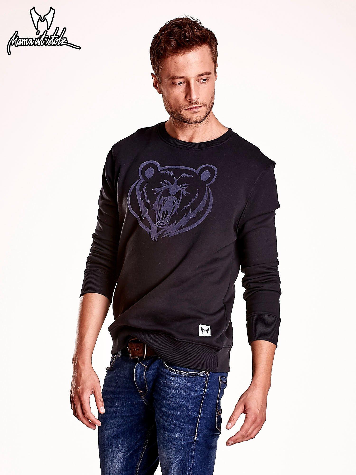 Czarna bluza męska z niedźwiedziem                                  zdj.                                  4