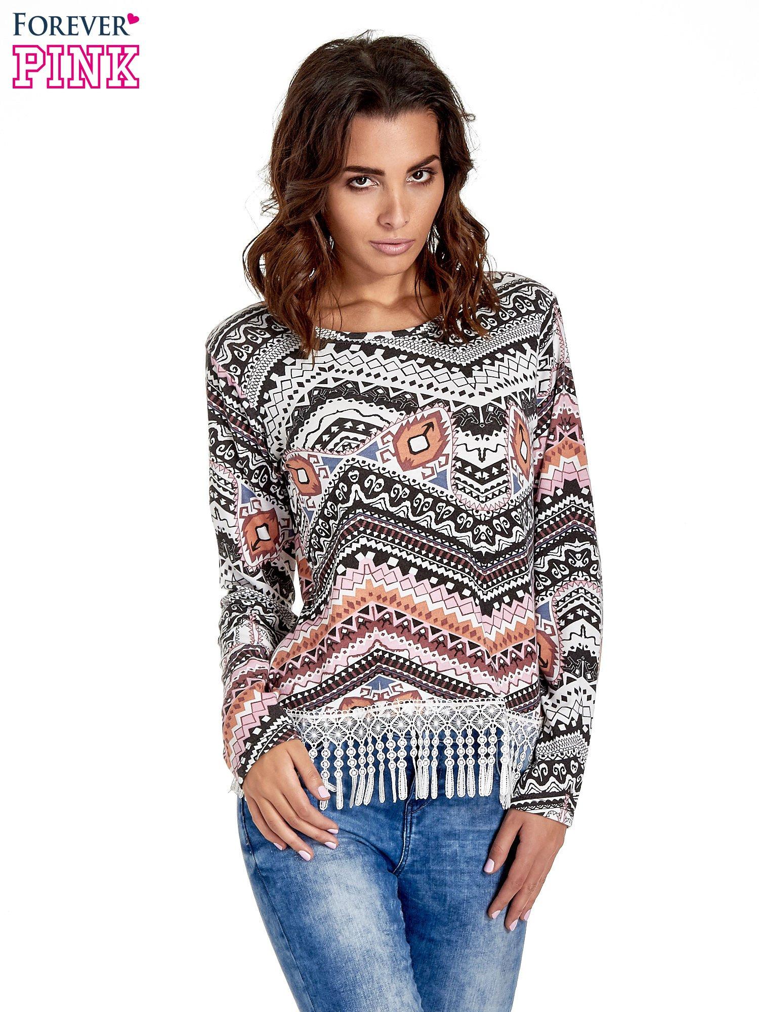 Czarna bluza w azteckie wzory z koronką z frędzlami                                  zdj.                                  1