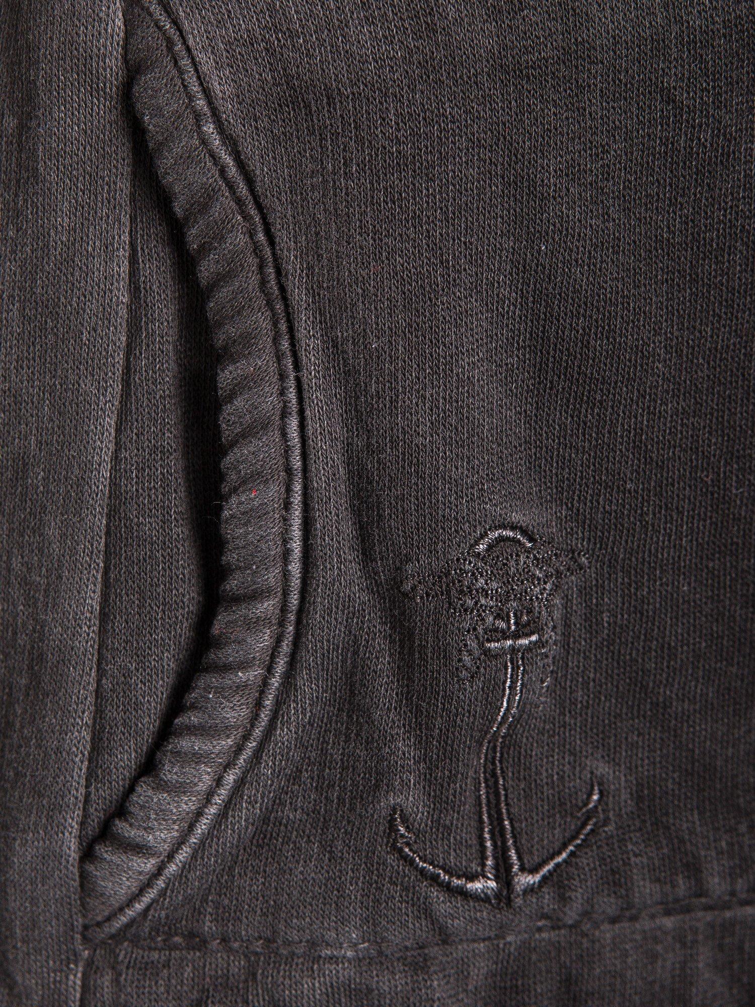 Czarna bluza z kapturem z efektem sprania                                  zdj.                                  5