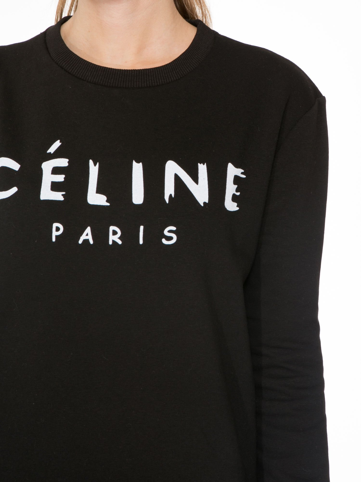 Czarna bluza z nadrukiem CÉLINE PARIS                                  zdj.                                  5