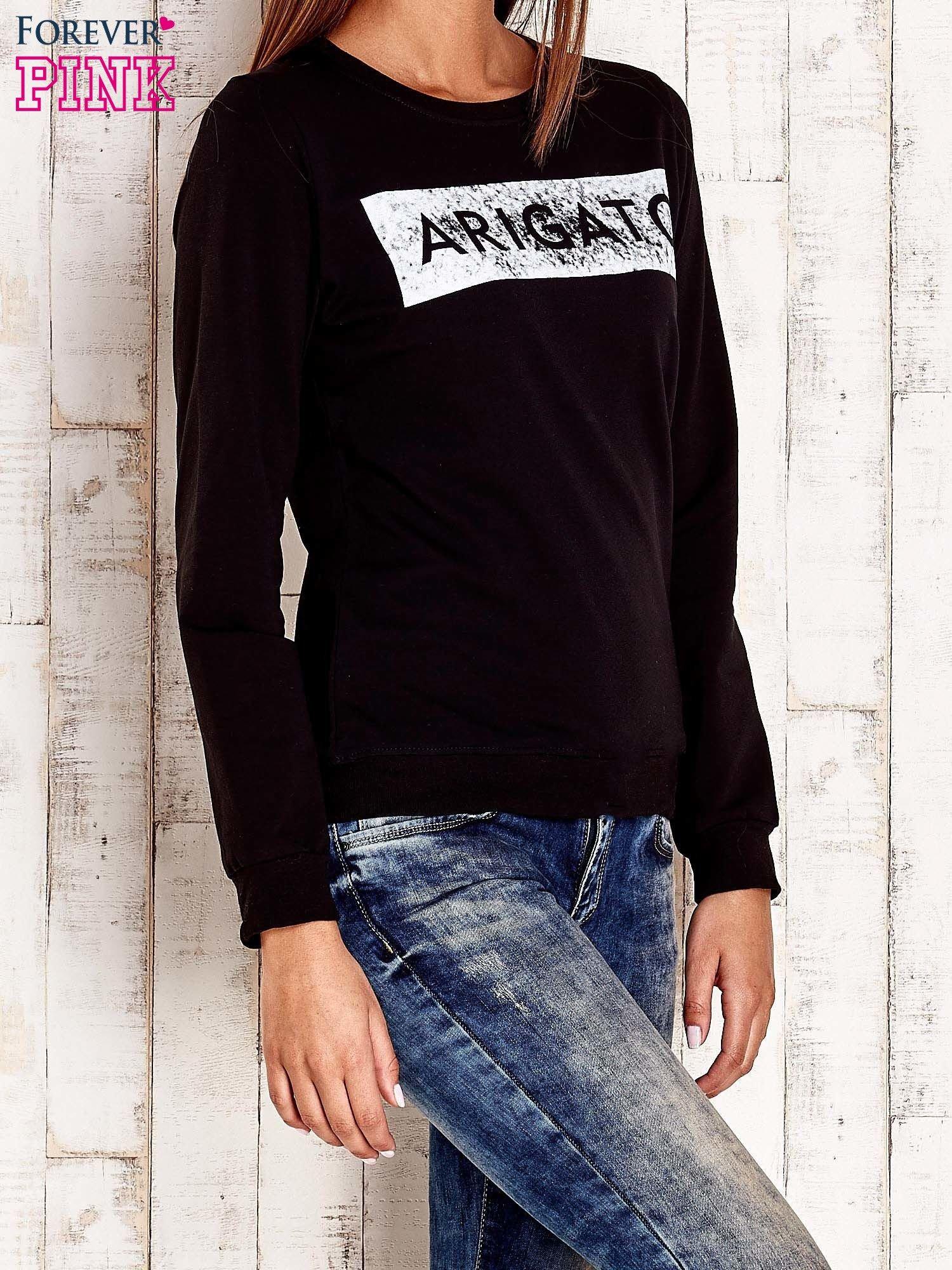 Czarna bluza z napisem ARIGATO                                  zdj.                                  3