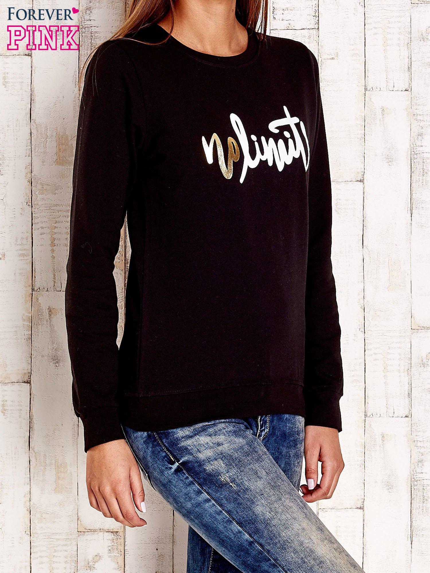 Czarna bluza z napisem NO LIMITS                                  zdj.                                  3