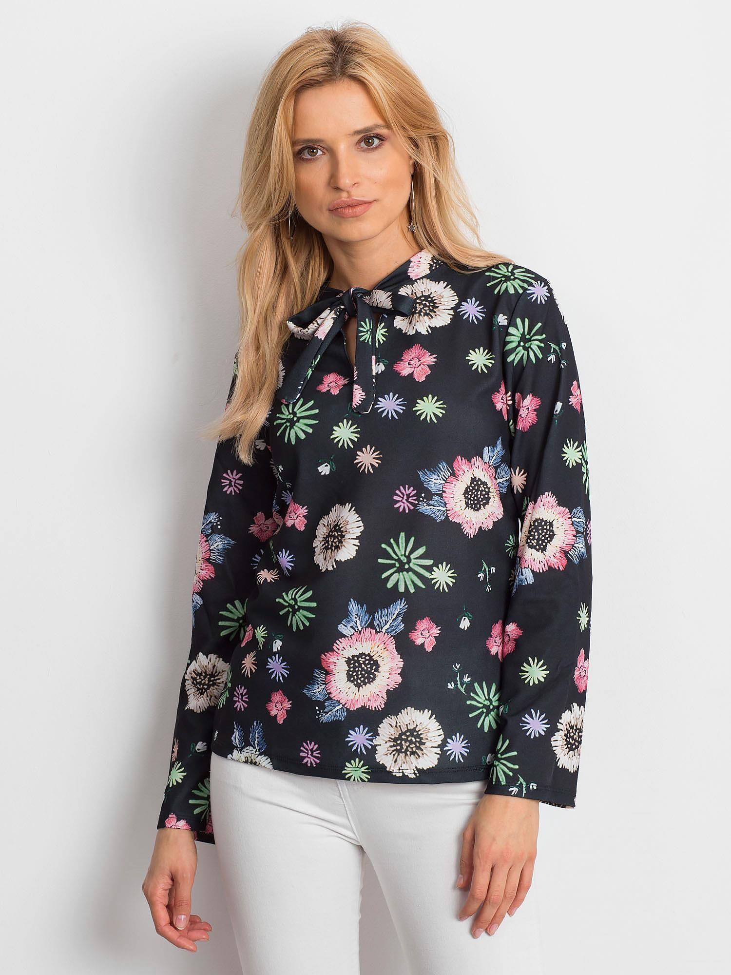 6f1a0626b61d Czarna bluzka w kolorowe kwiaty z wiązaniem - Bluzka one size ...