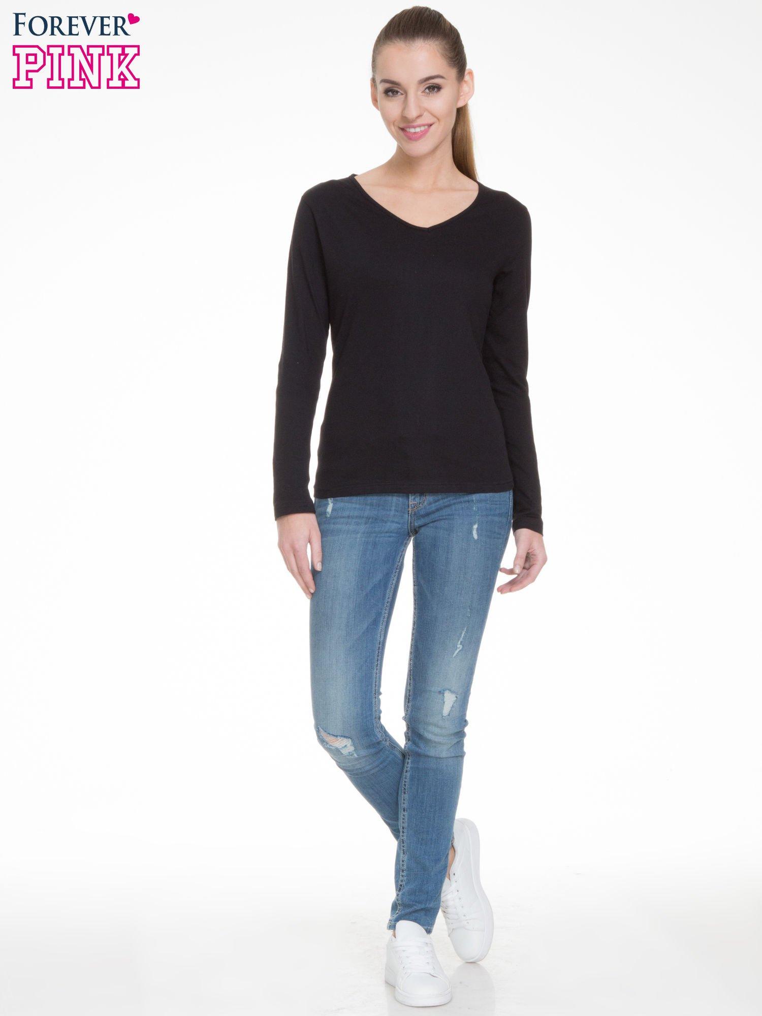 Czarna bluzka z długim rękawem z bawełny                                  zdj.                                  2