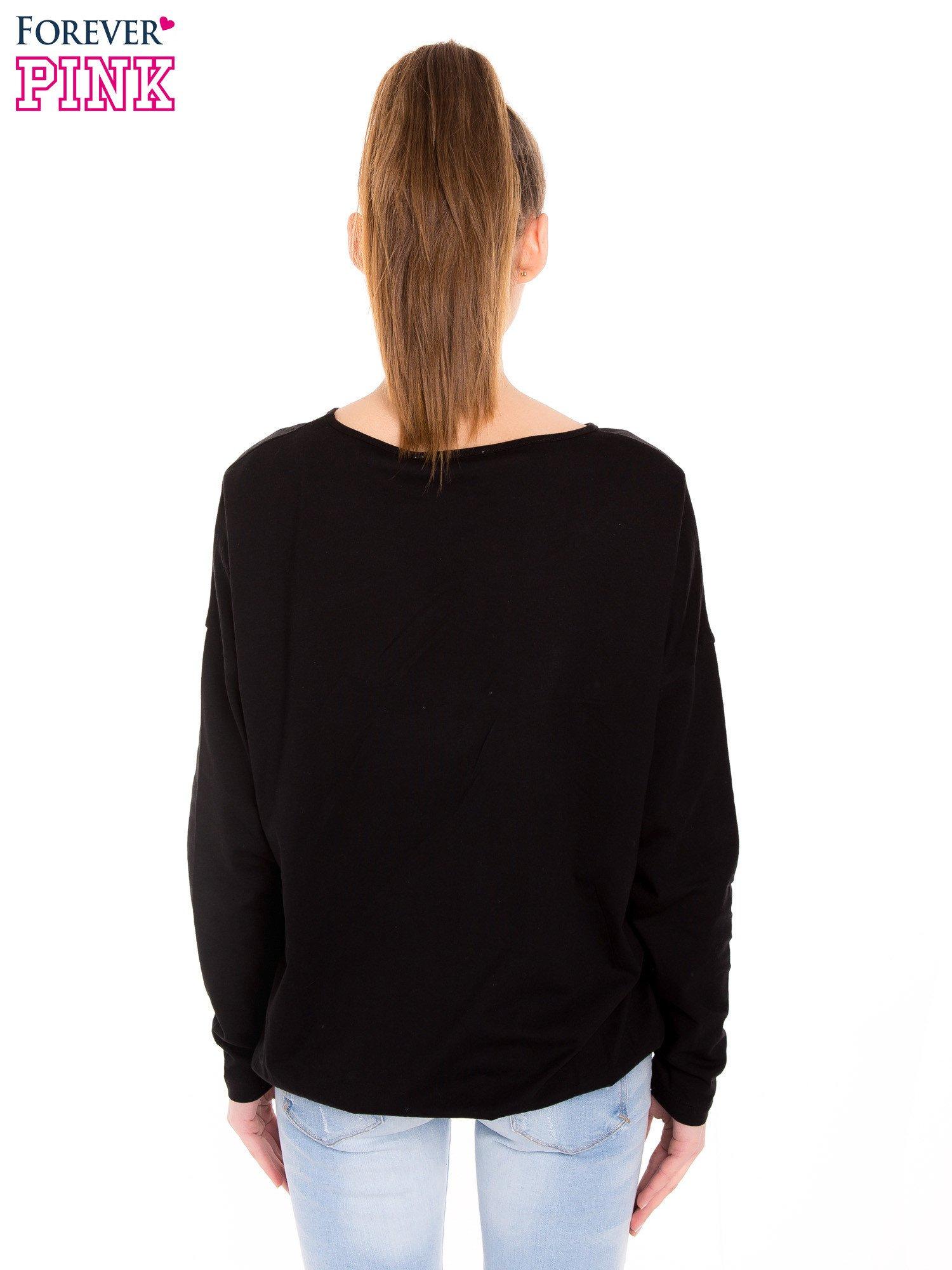 Czarna bluzka z gumką u dołu                                  zdj.                                  3