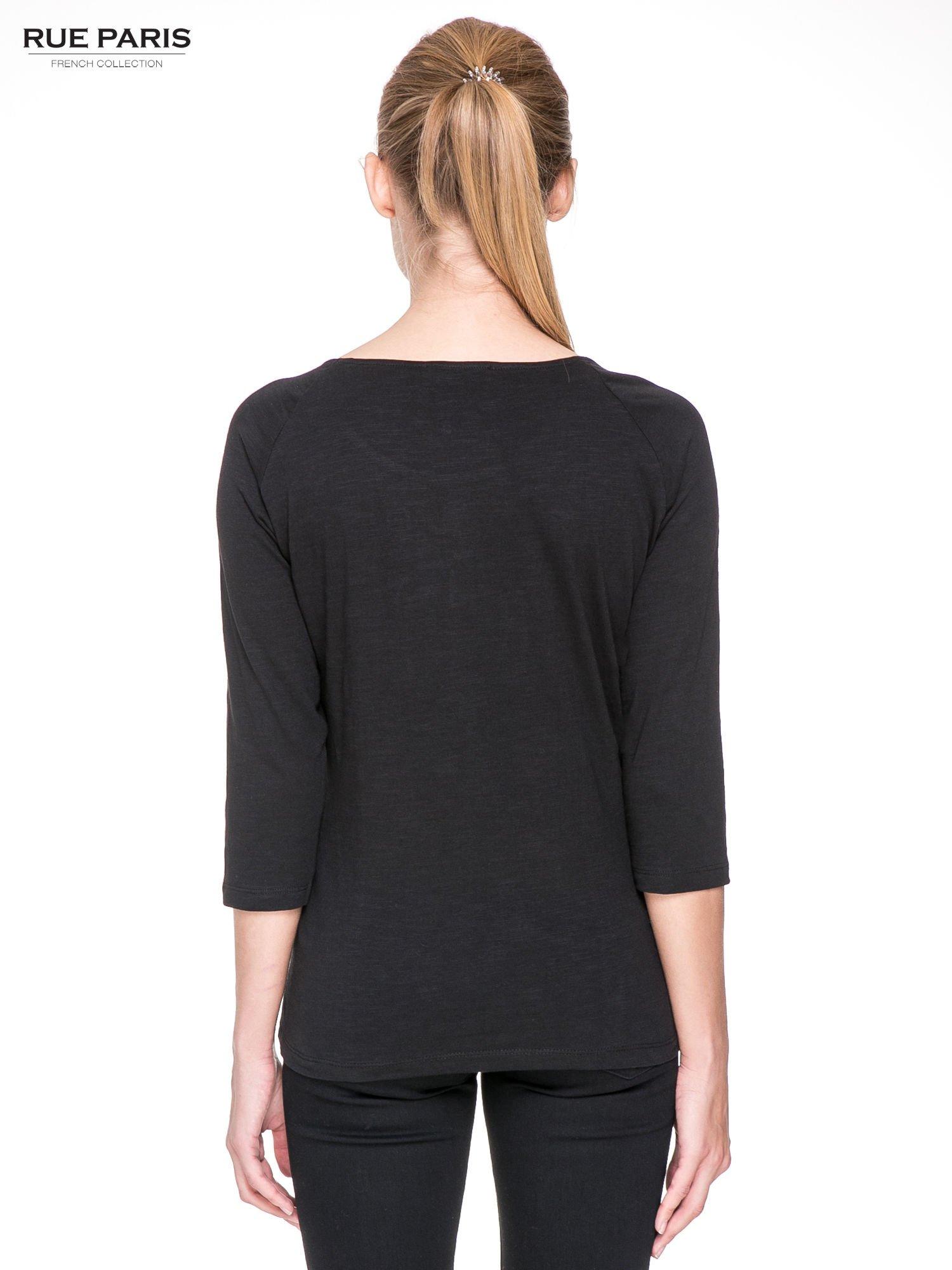 Czarna bluzka z koronkowym przodem                                  zdj.                                  4