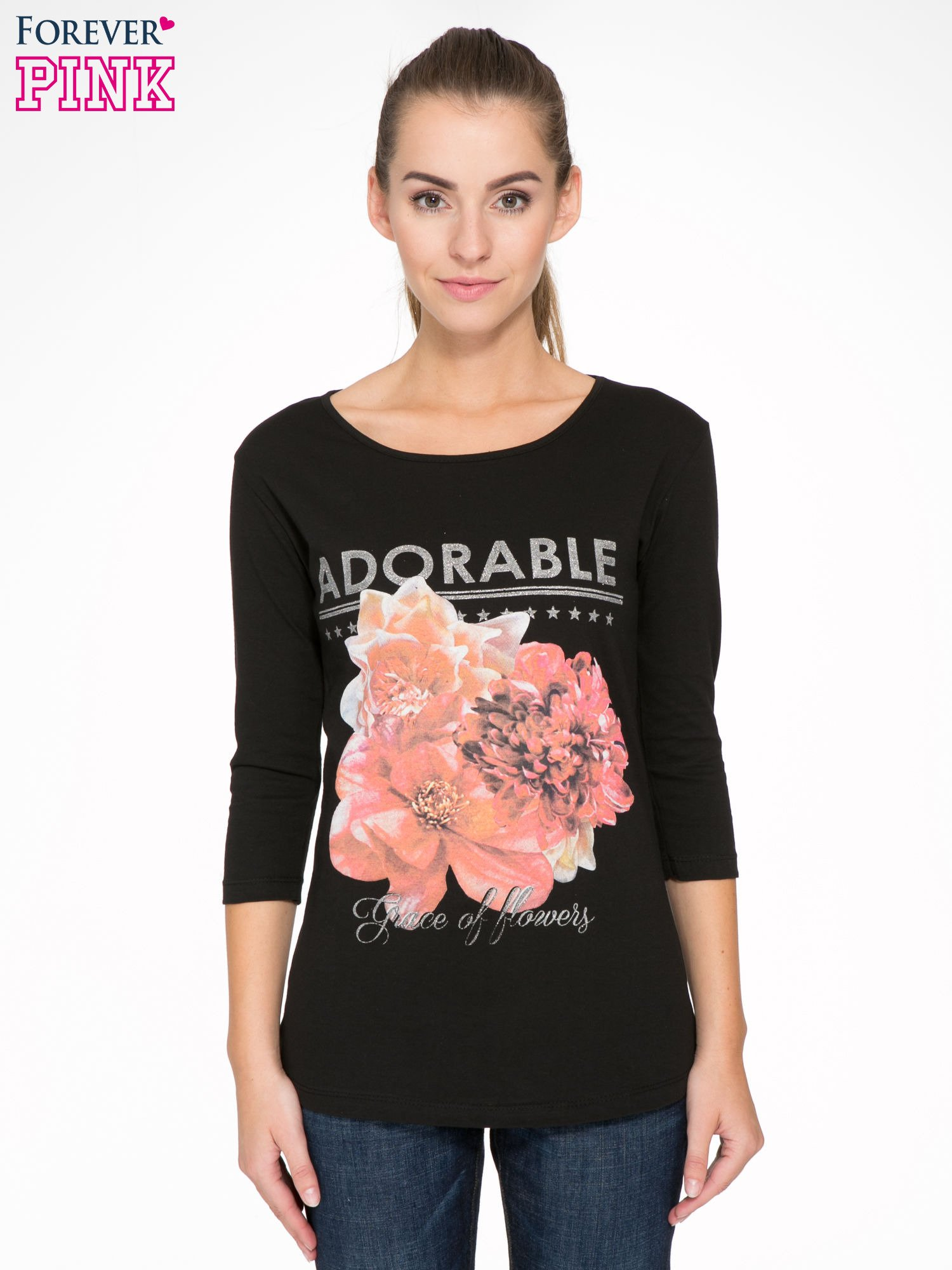 Czarna bluzka z motywem kwiatowym i napisem ADORABLE                                  zdj.                                  1