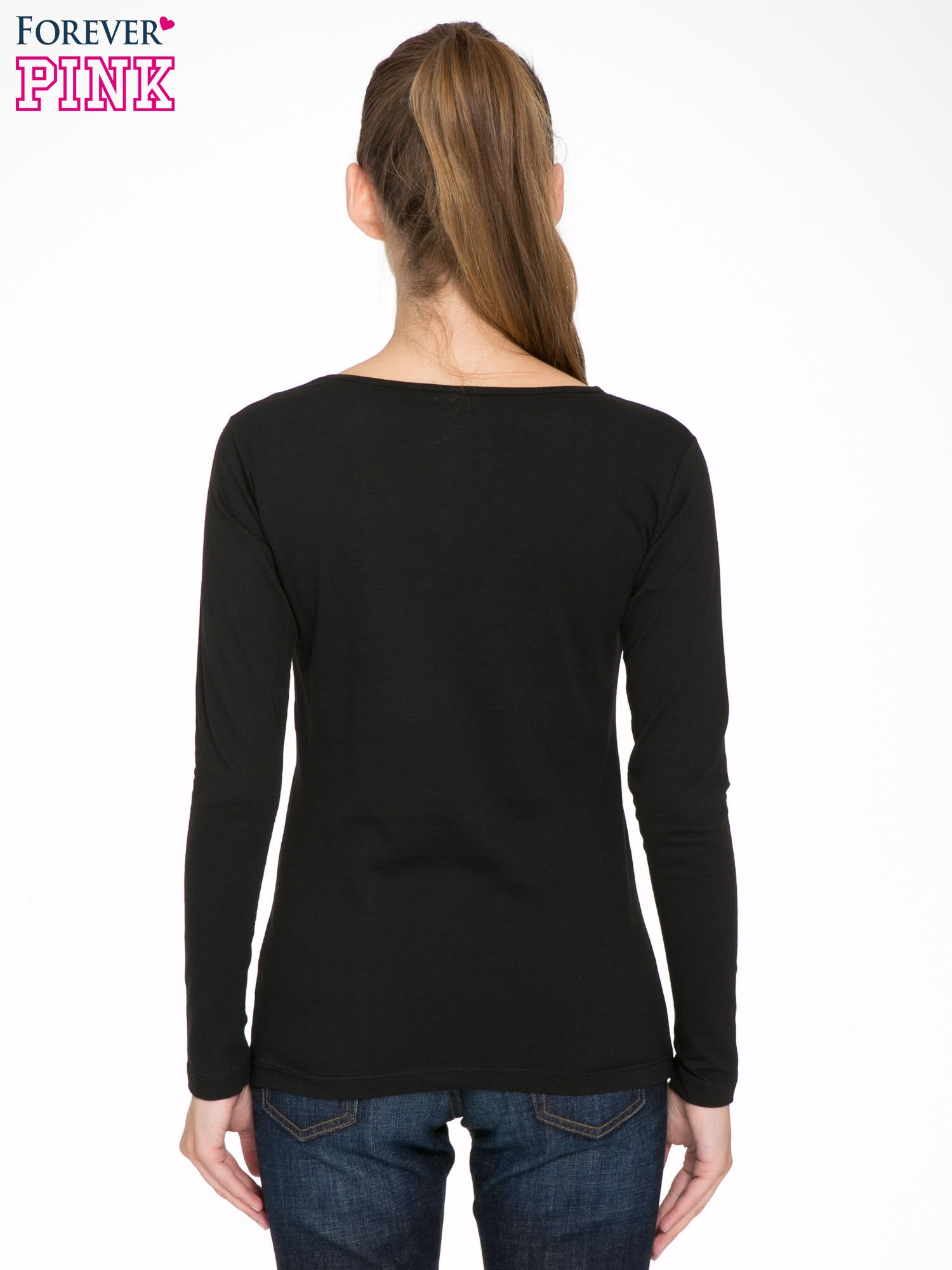 Czarna bluzka z nadrukiem Audrey Hepburn                                  zdj.                                  4