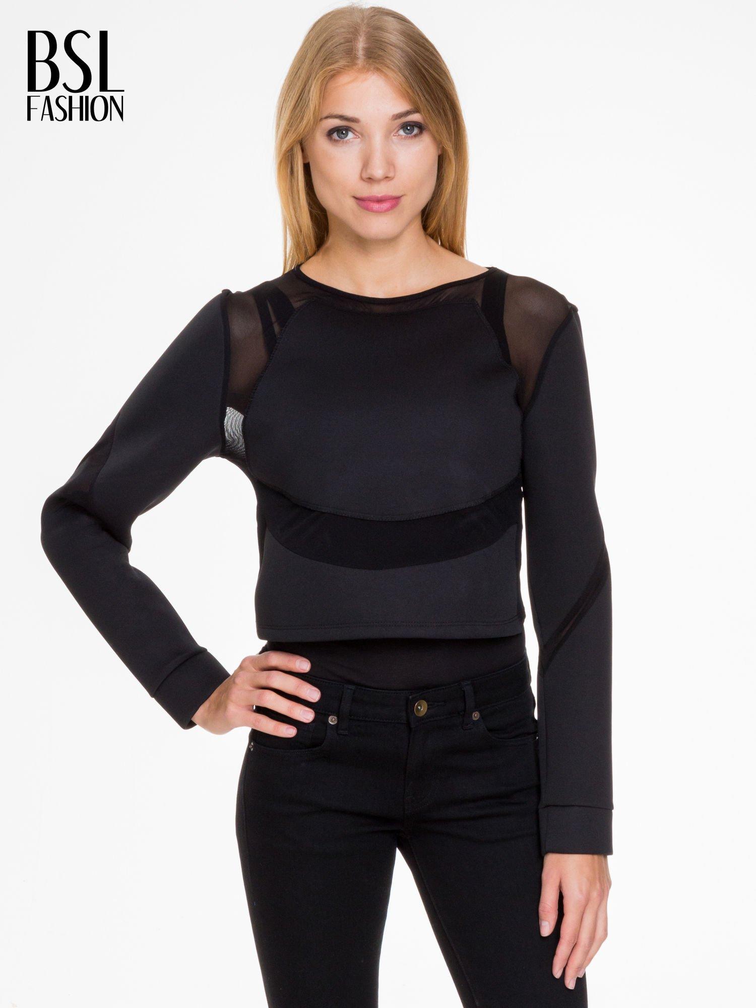 Czarna bluzka z neoprenu z tiulowymi wstawkami                                  zdj.                                  1