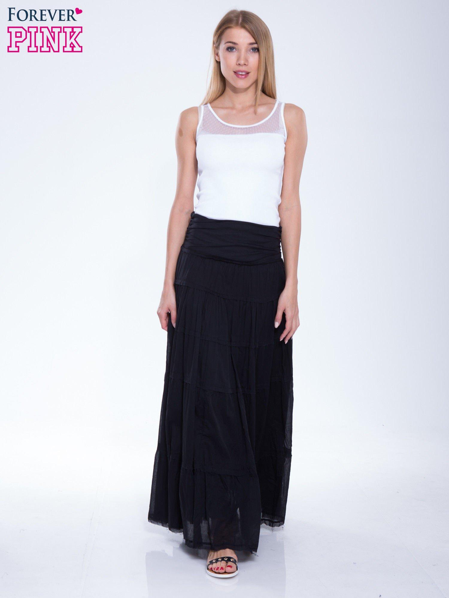 Czarna długa spódnica maxi w stylu boho                                  zdj.                                  2