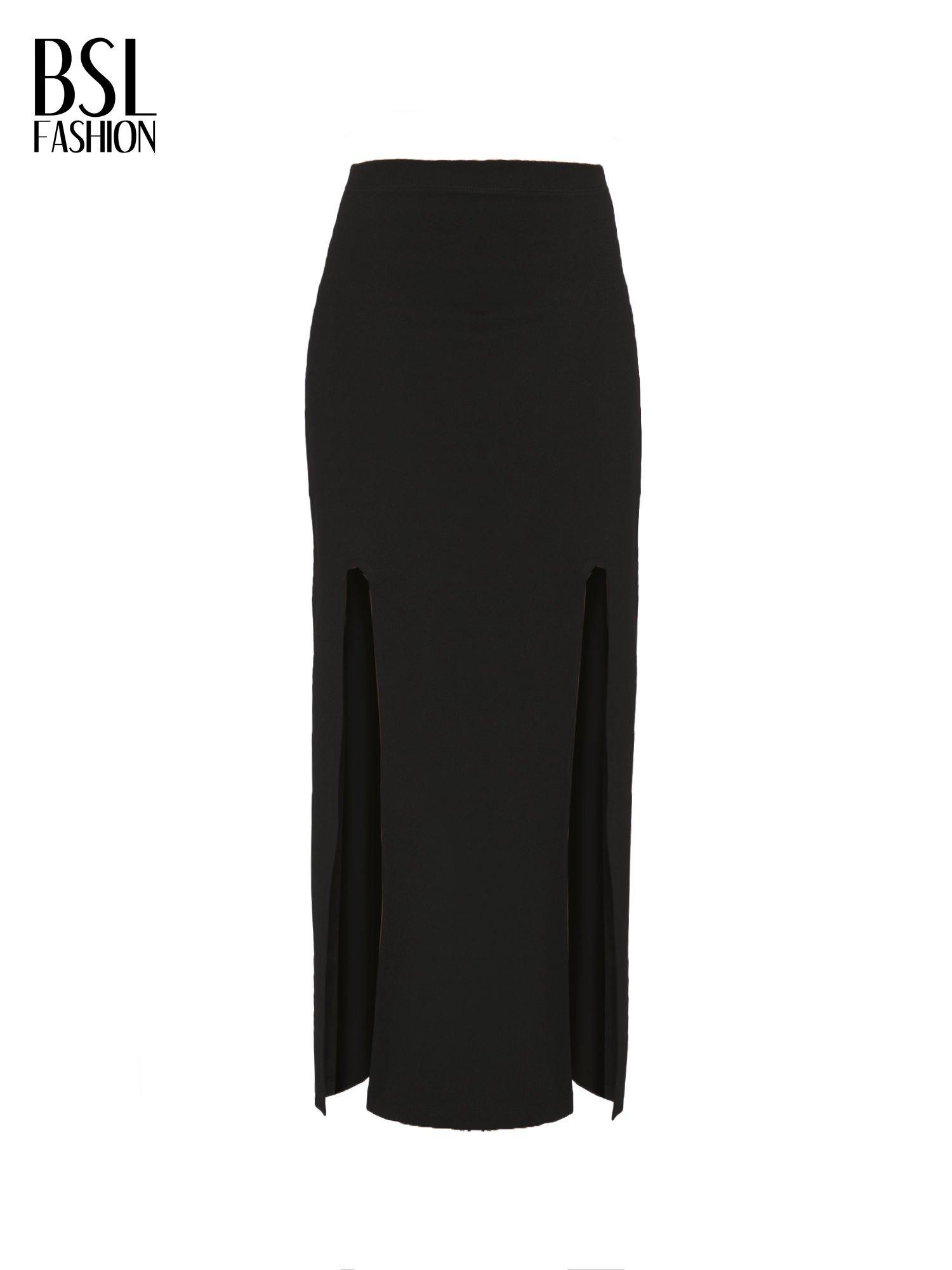 Czarna długa spódnica z rozporkami z przodu                                  zdj.                                  5