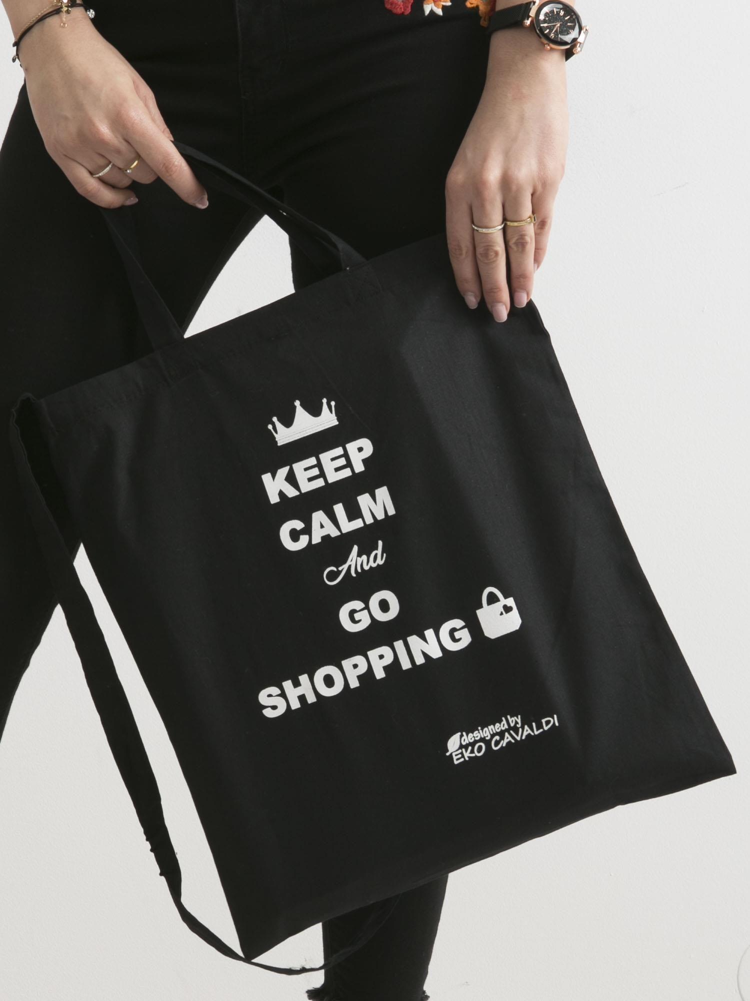 ca500e84dd209 Czarna eko torba z napisem KEEP CALM AND GO SHOPPING - Akcesoria ...