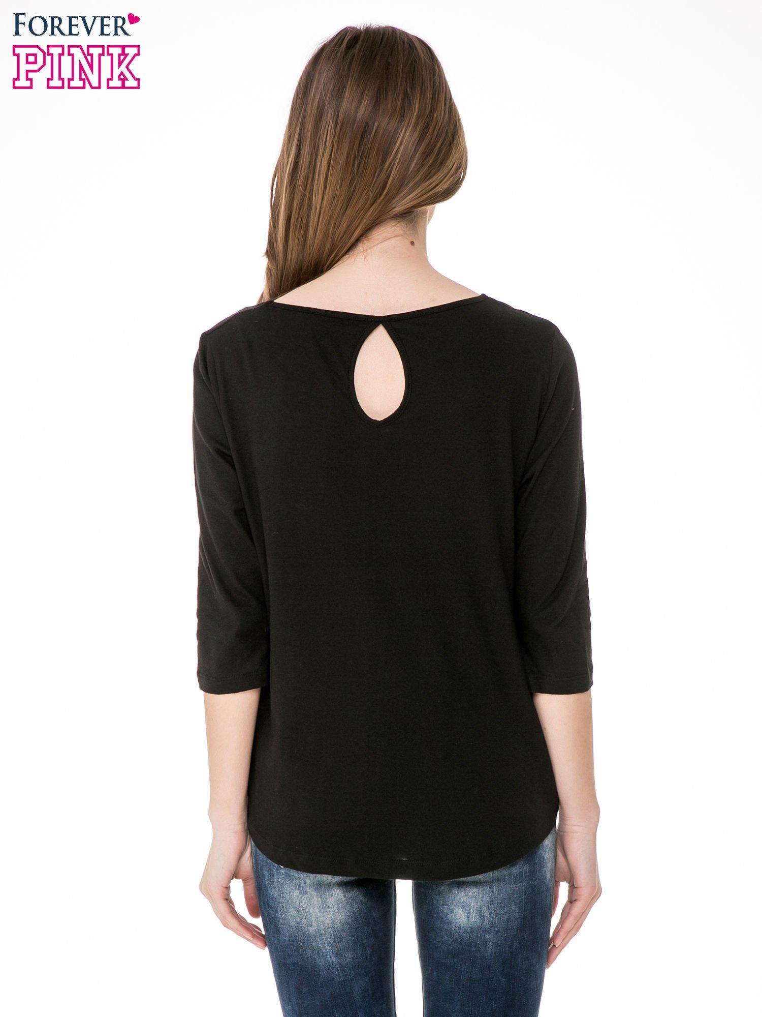 Czarna gładka bluzka z łezką z tyłu                                  zdj.                                  4