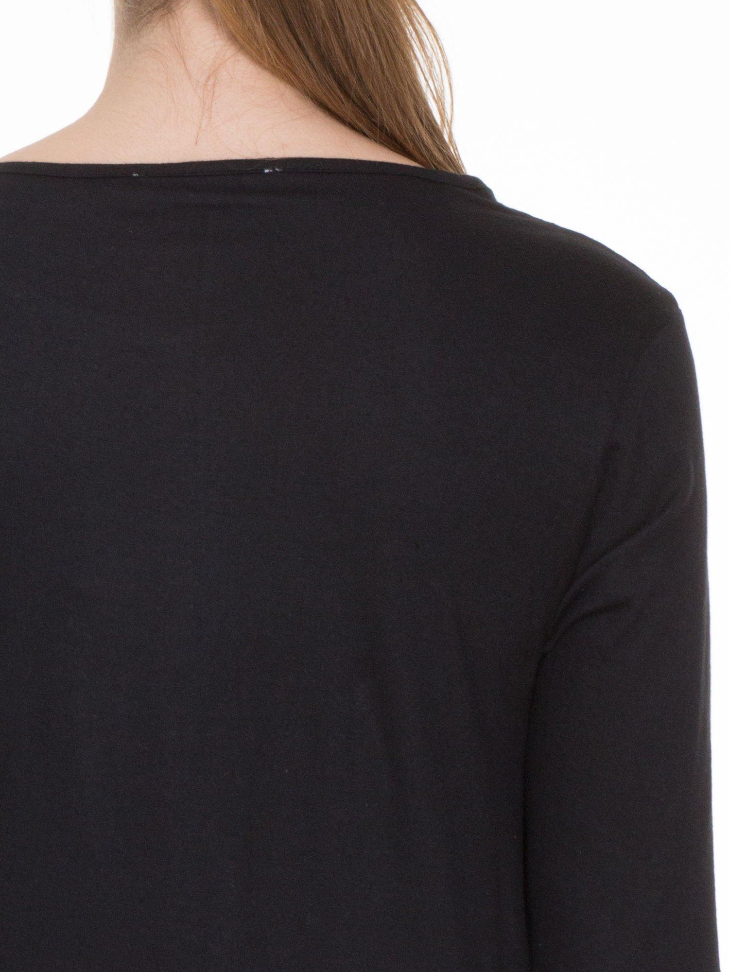 Czarna gładka bluzka z rękawem 3/4                                  zdj.                                  5