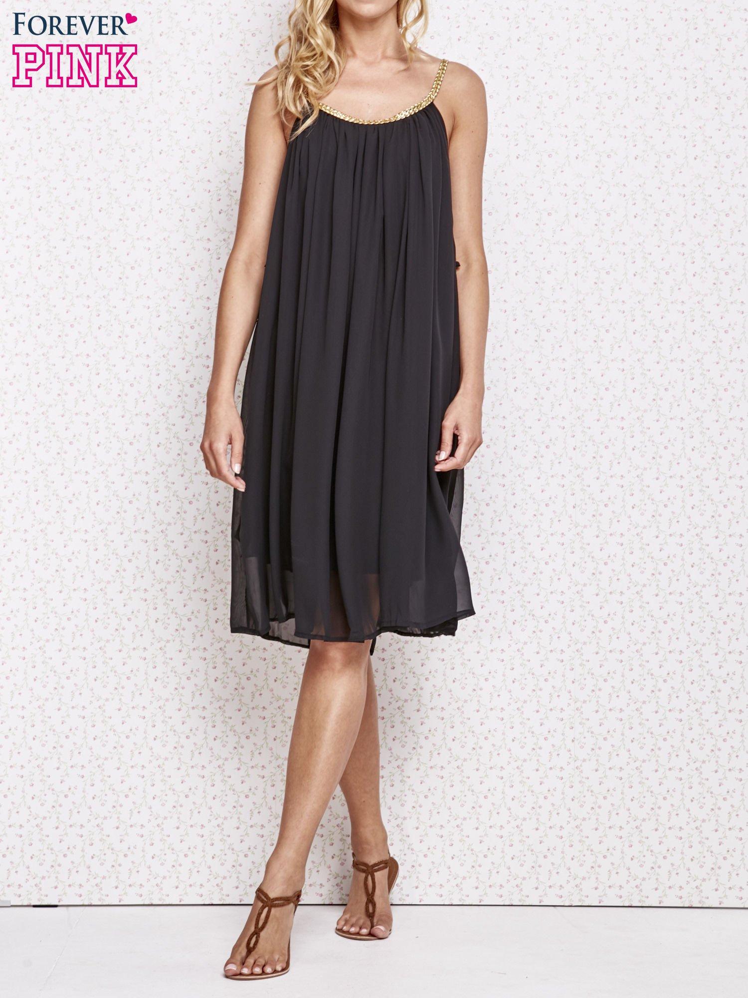 Czarna grecka sukienka ze złotym paskiem                                  zdj.                                  6