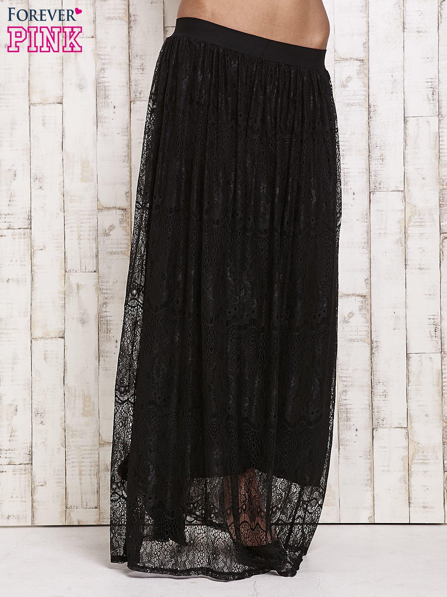 0cdd28cd433f Czarna koronkowa spódnica maxi - Spódnica plisowana - sklep eButik.pl
