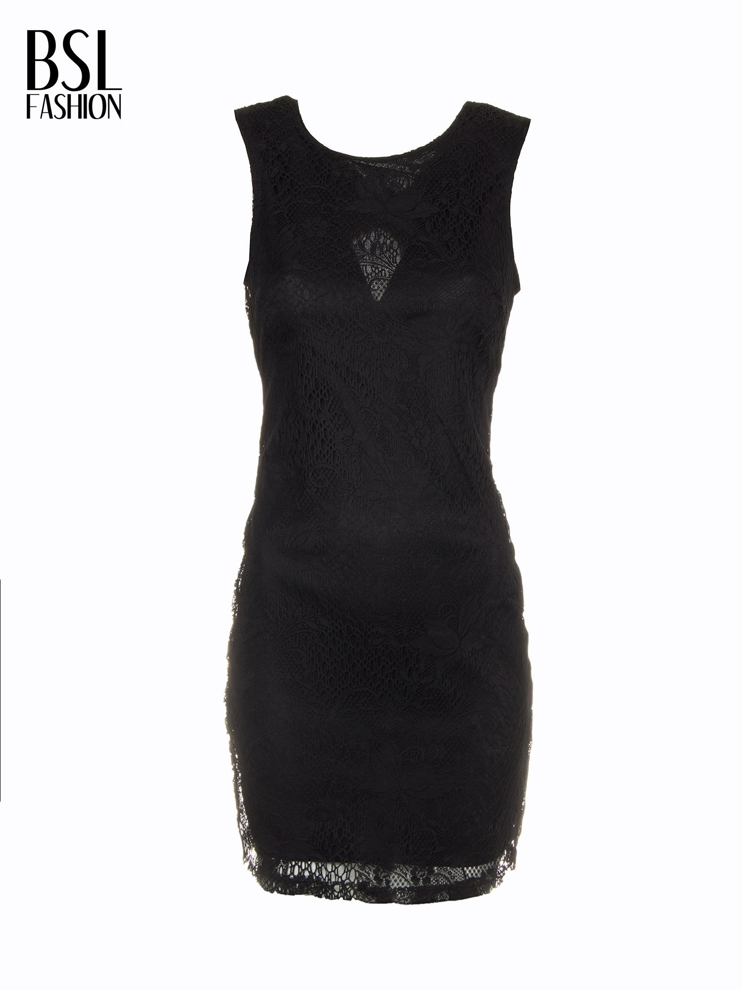 Czarna koronkowa sukienka z wycięciem na plecach                                  zdj.                                  9