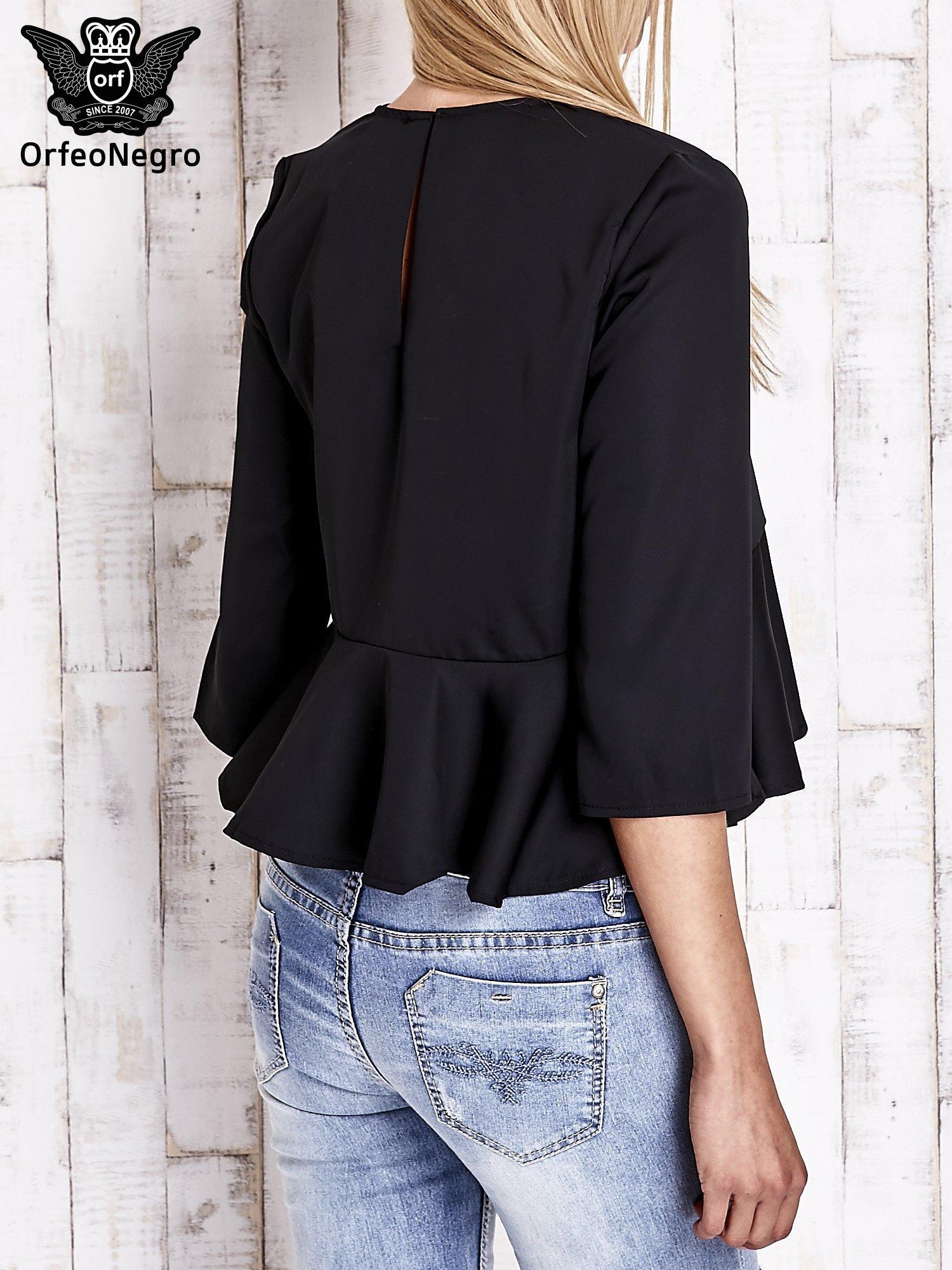 Czarna koszula z baskinką                                  zdj.                                  2