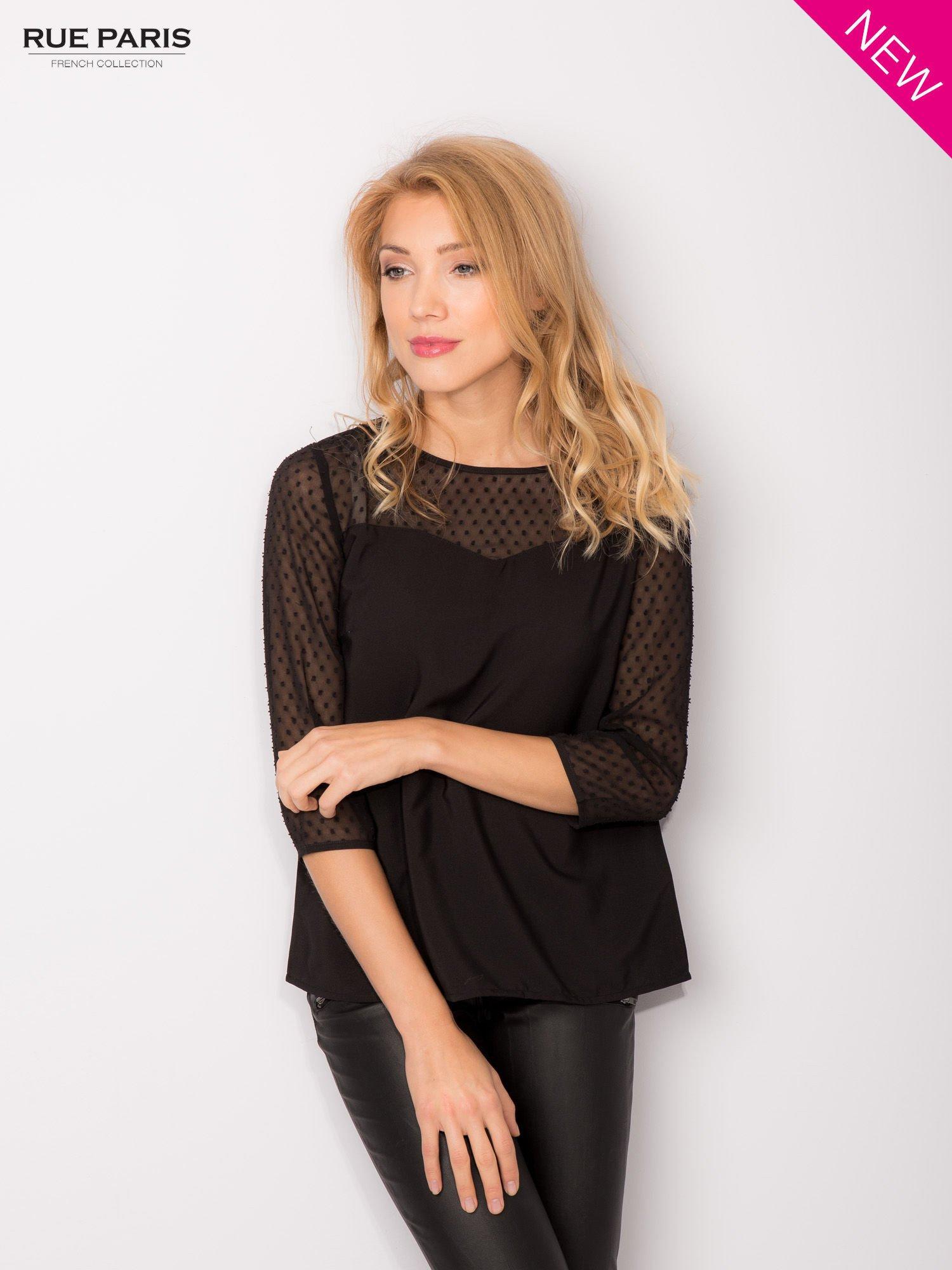 Czarna koszula z przezroczystym materiałem w groszki                                  zdj.                                  2