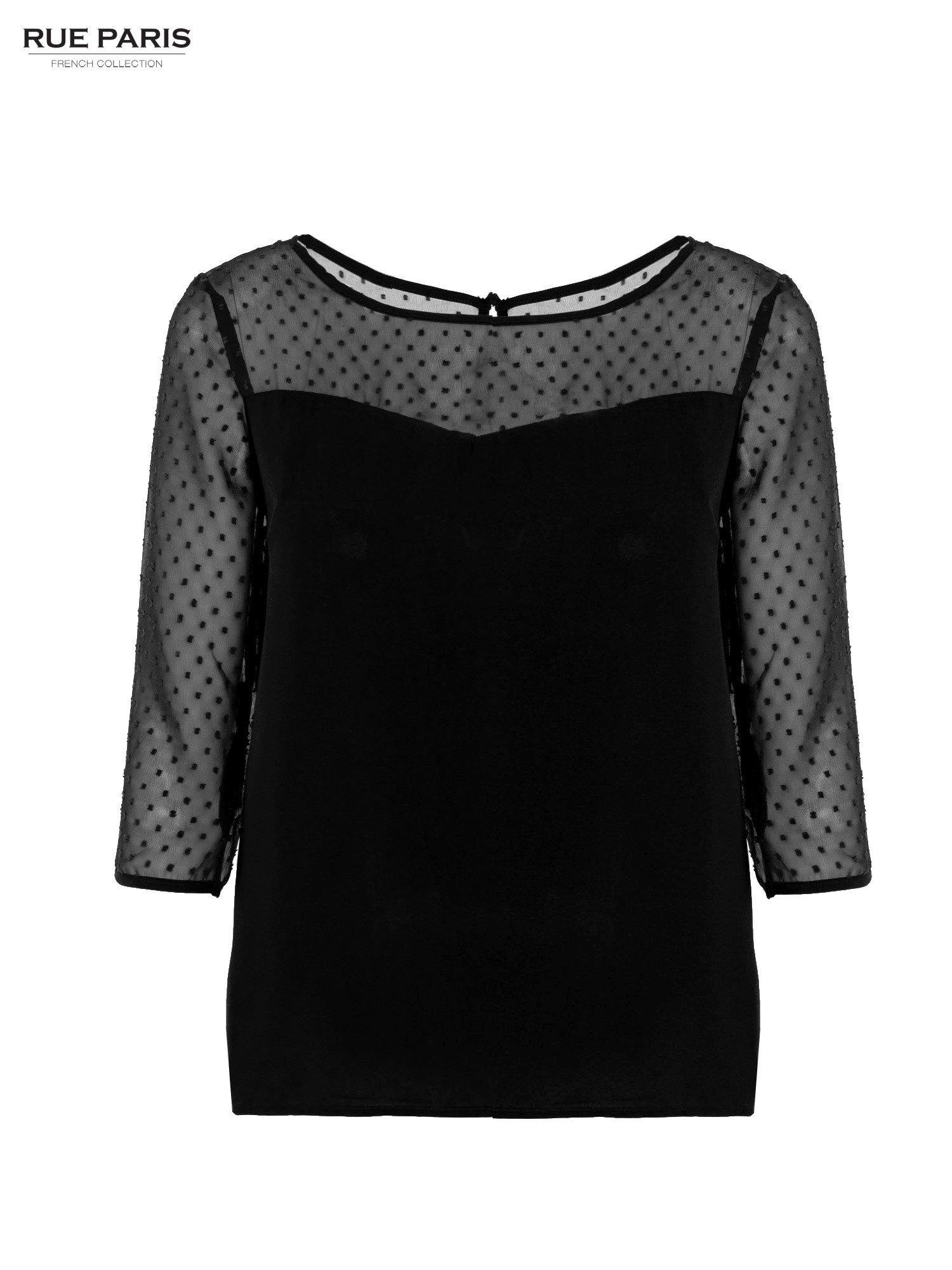 Czarna koszula z przezroczystym materiałem w groszki                                  zdj.                                  1
