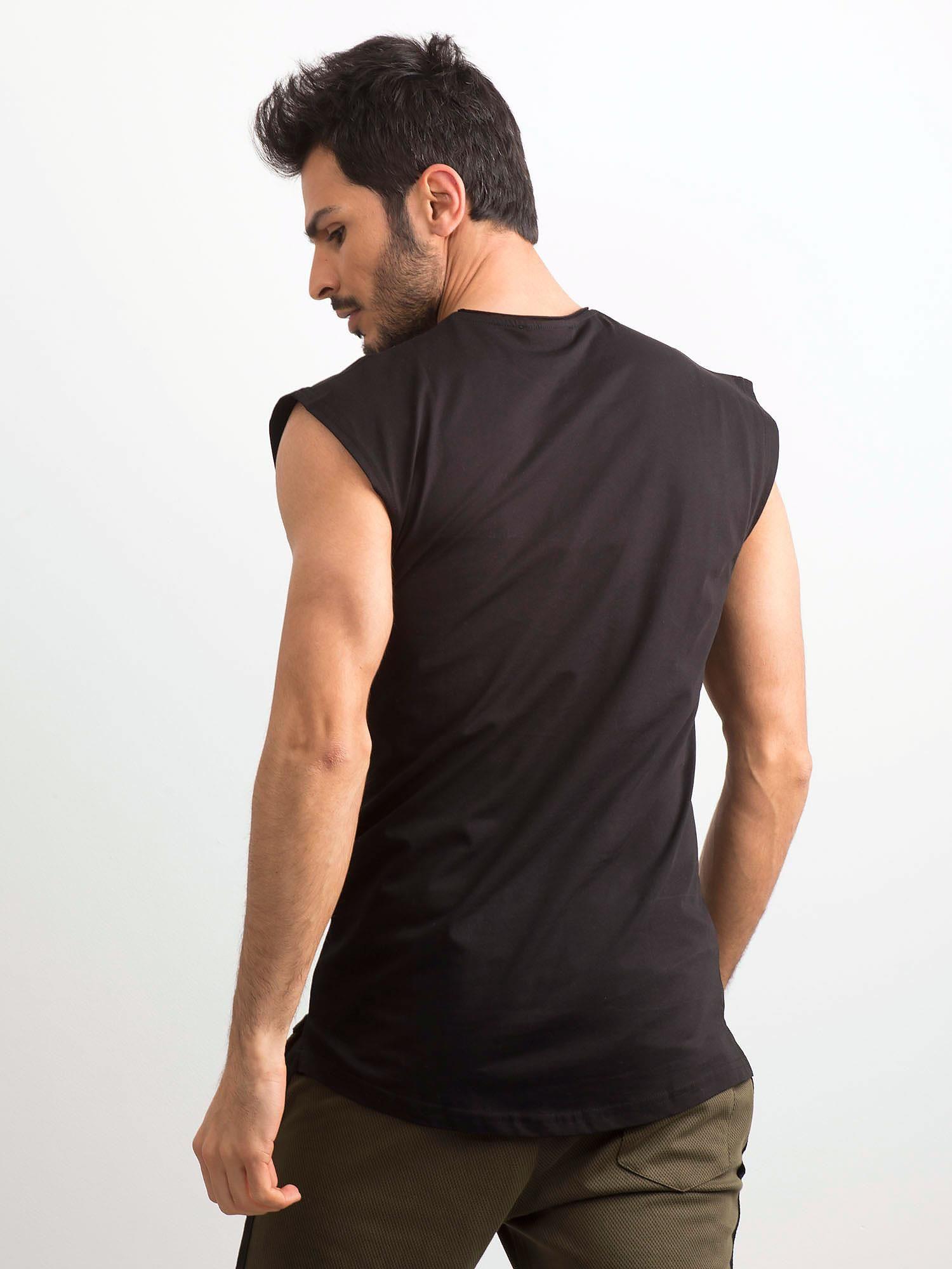 3ac3a71688e9ae Czarna koszulka męska z nadrukiem - Mężczyźni koszulka na ...