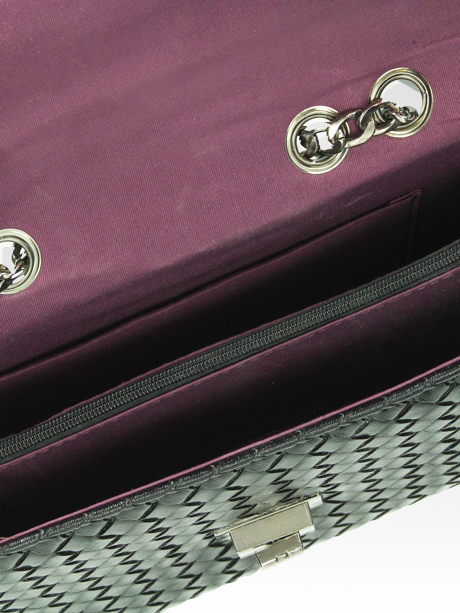 Czarna mała pleciona torebka na łańcuszku                                  zdj.                                  6