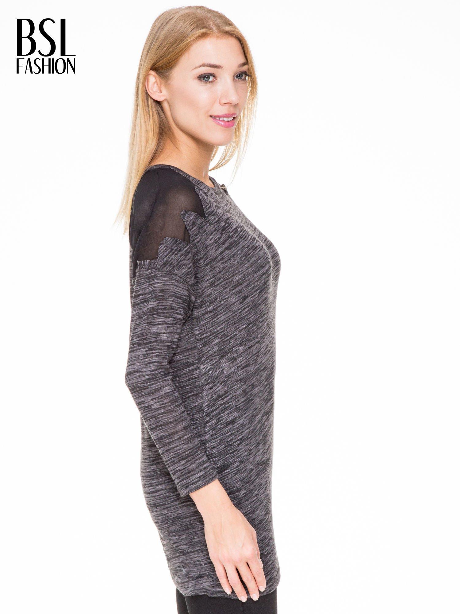 Czarna melanżowa bluzka z tiulowymi wstawkami na ramionach                                  zdj.                                  3