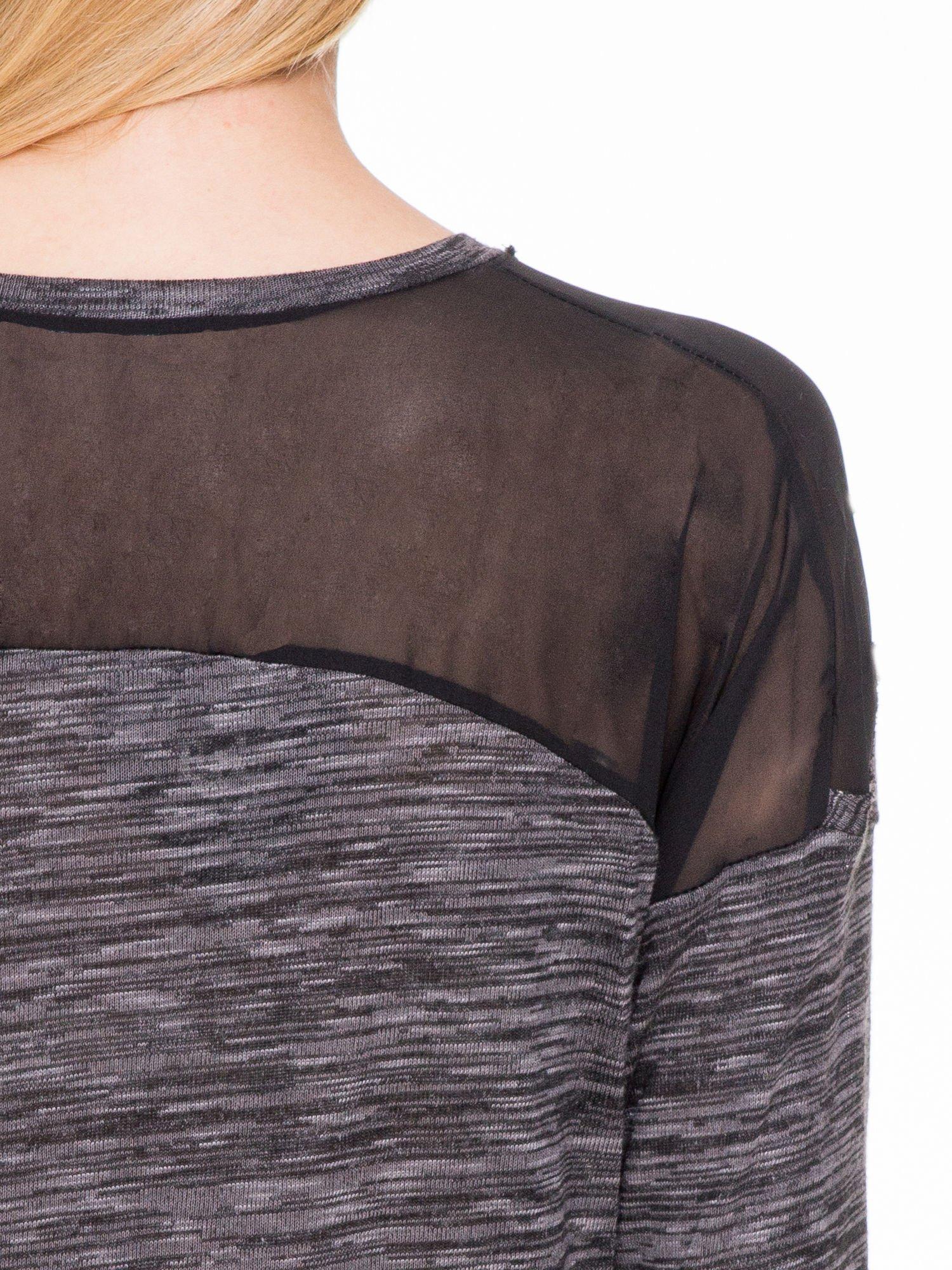 Czarna melanżowa bluzka z tiulowymi wstawkami na ramionach                                  zdj.                                  6