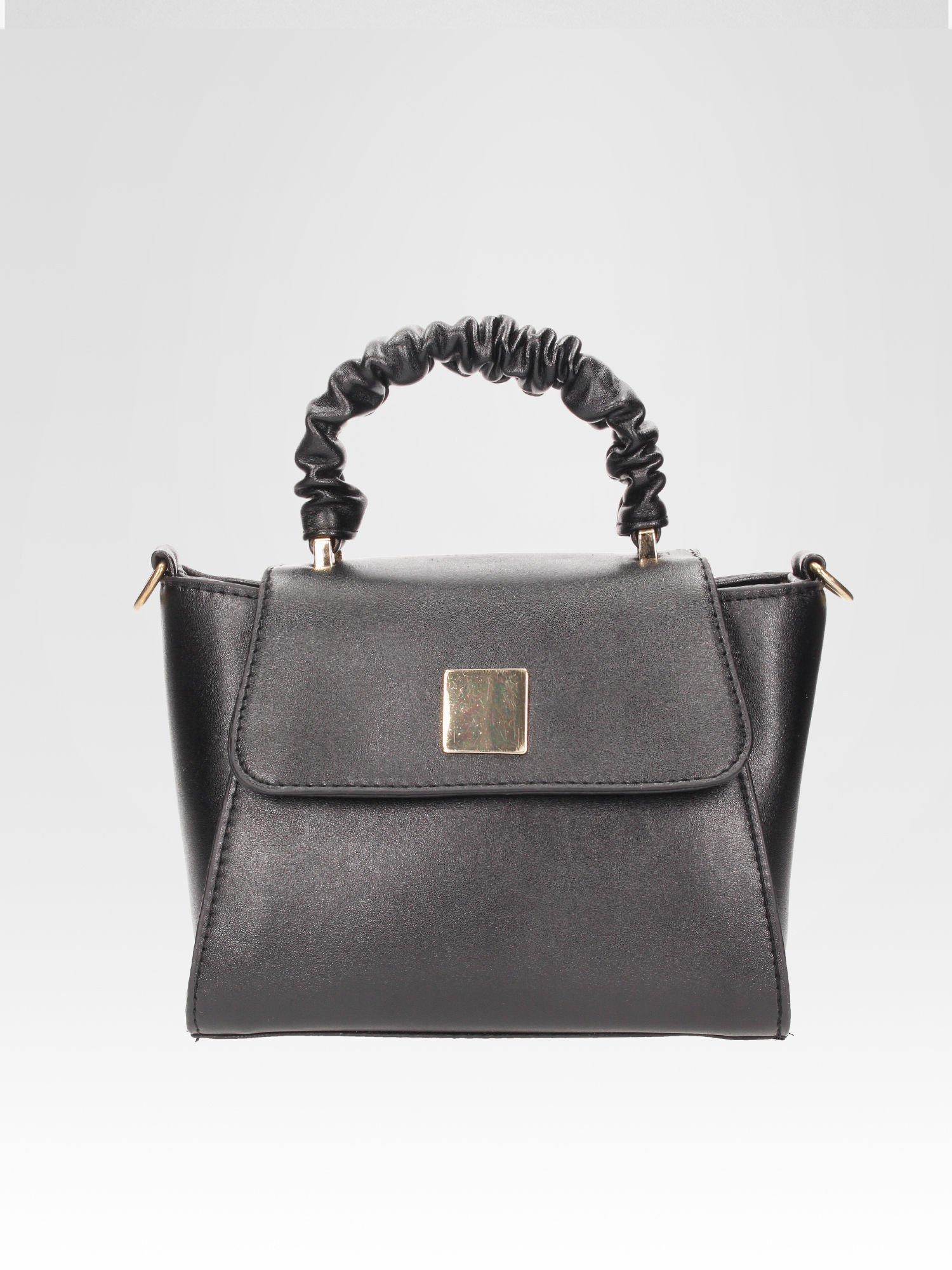 Czarna mini torebka kuferek z marszczoną rączką                                  zdj.                                  1