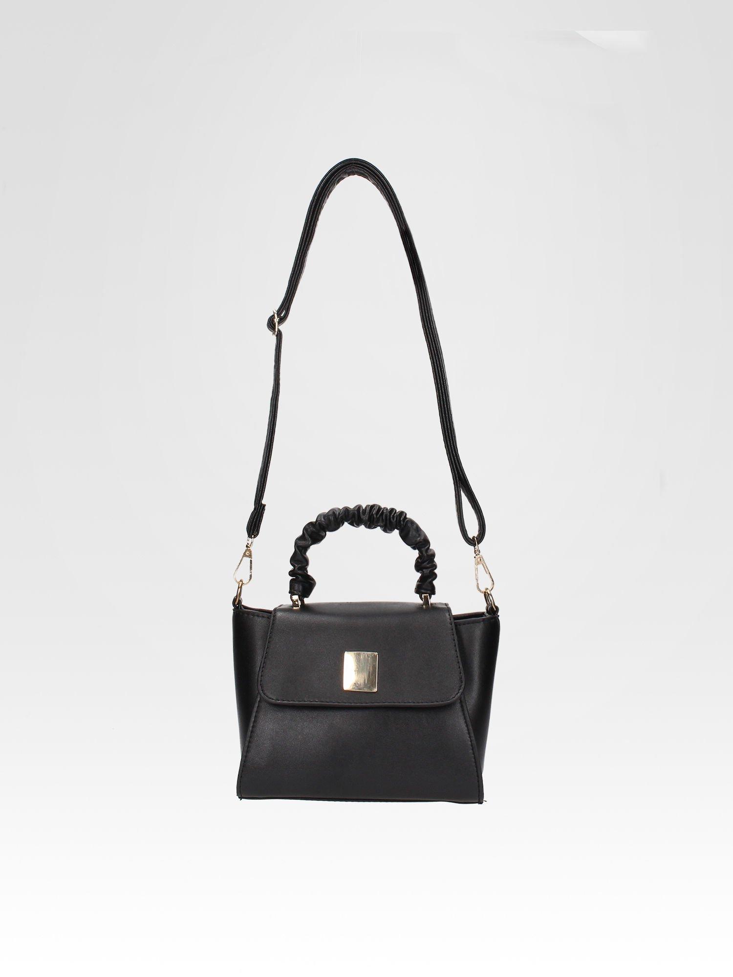 Czarna mini torebka kuferek z marszczoną rączką                                  zdj.                                  5