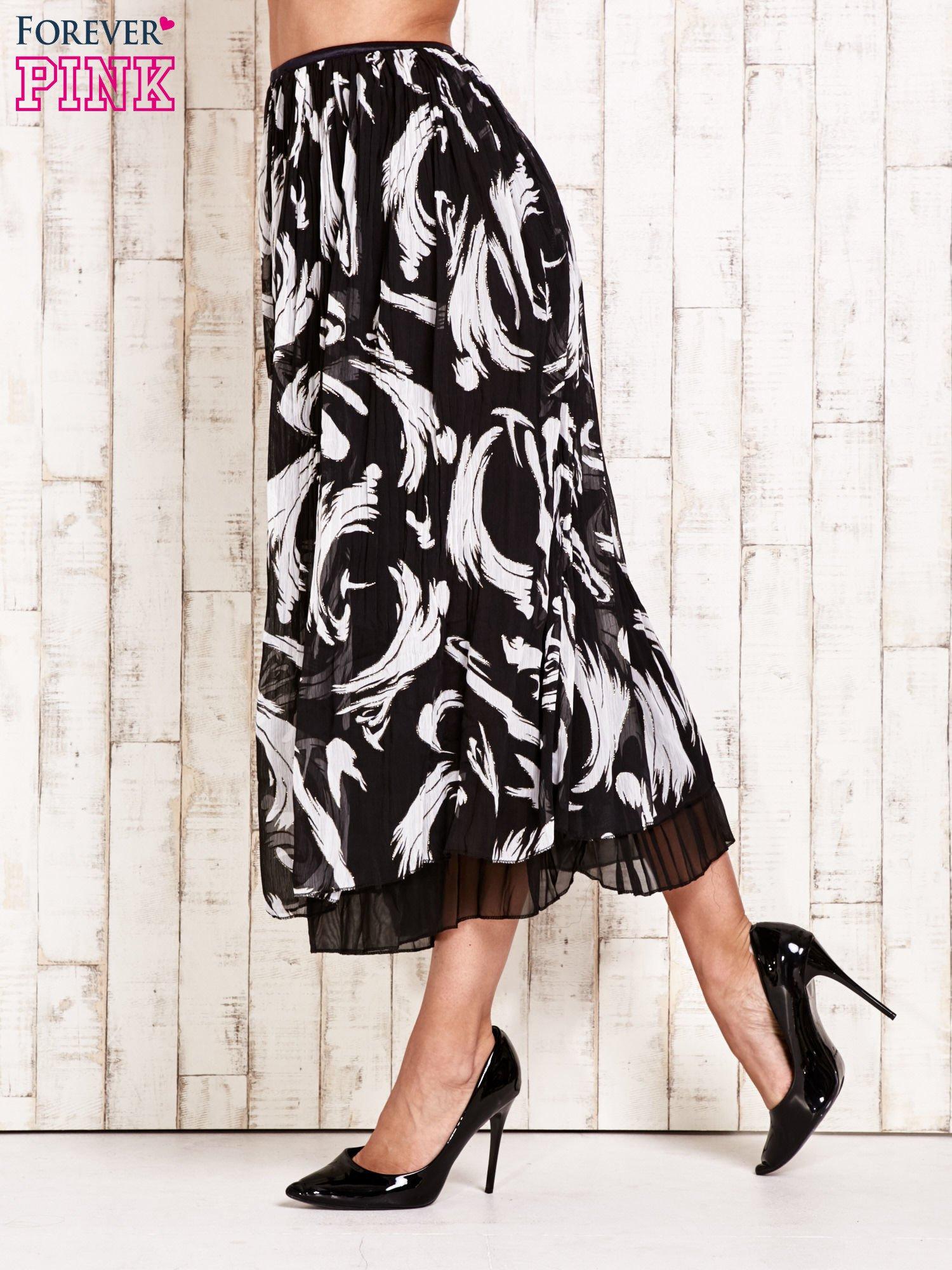 Czarna plisowana spódnica midi z brokatem                                  zdj.                                  3