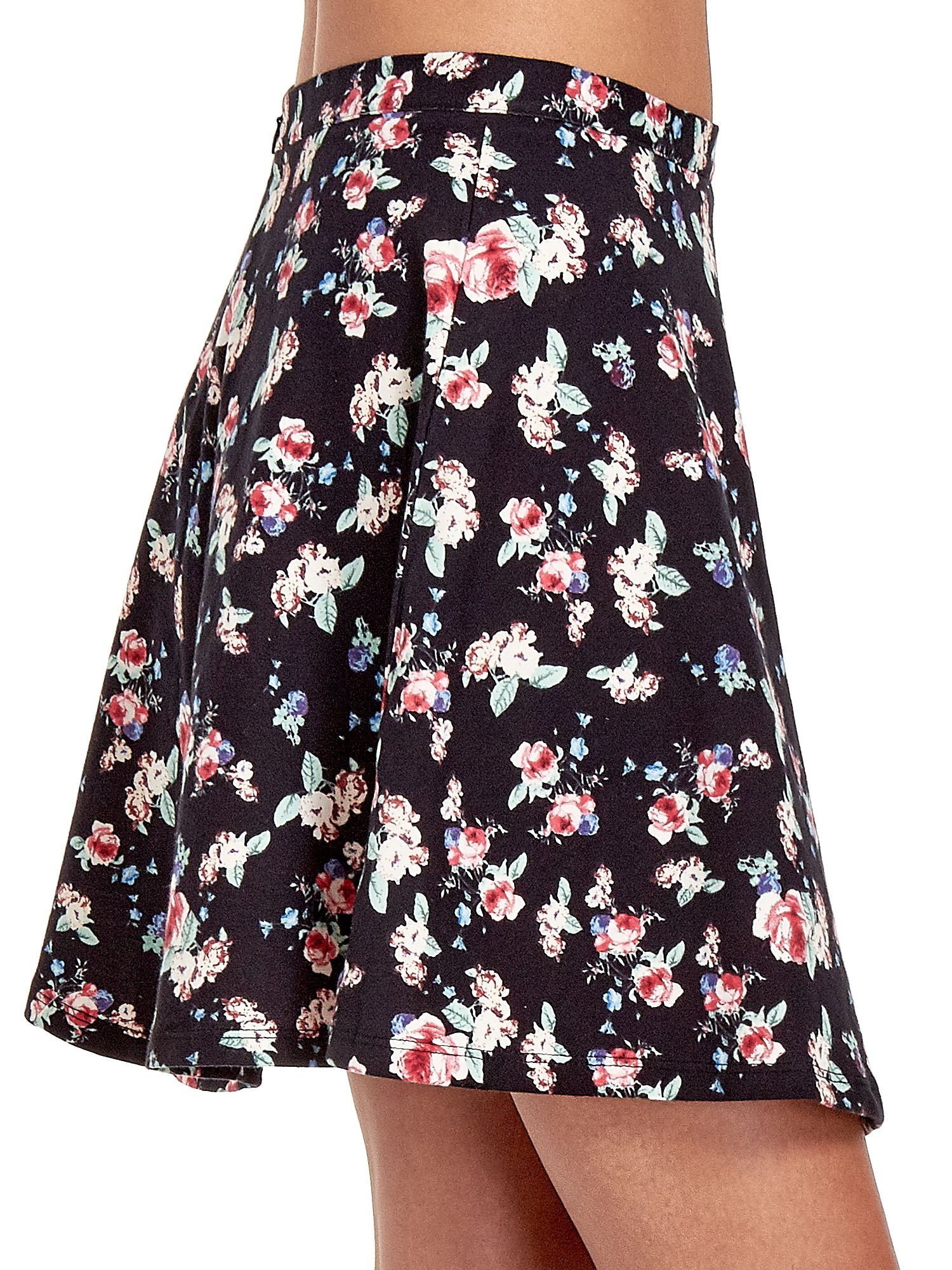 Czarna rozkloszowna mini spódniczka w łączkę                                  zdj.                                  6