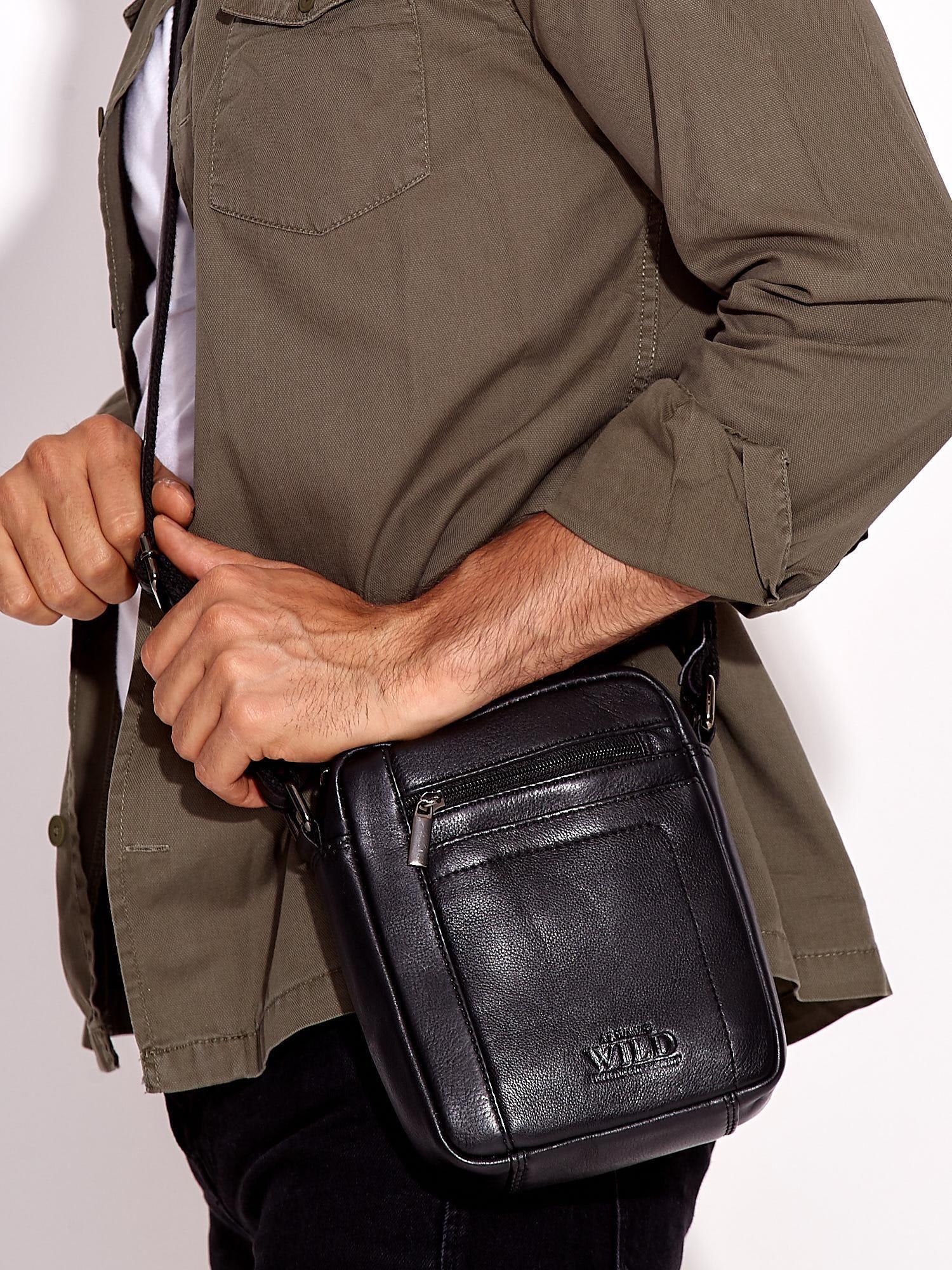 af24aeb19cadd Czarna skórzana torba męska z kieszeniami - Mężczyźni Torba męska ...
