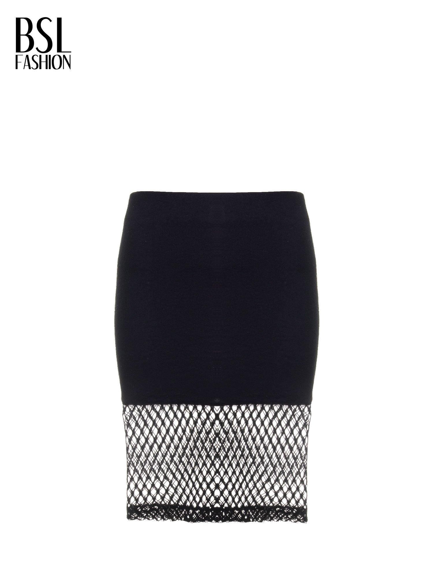 Czarna spódnica do kolan z siatki                                  zdj.                                  4