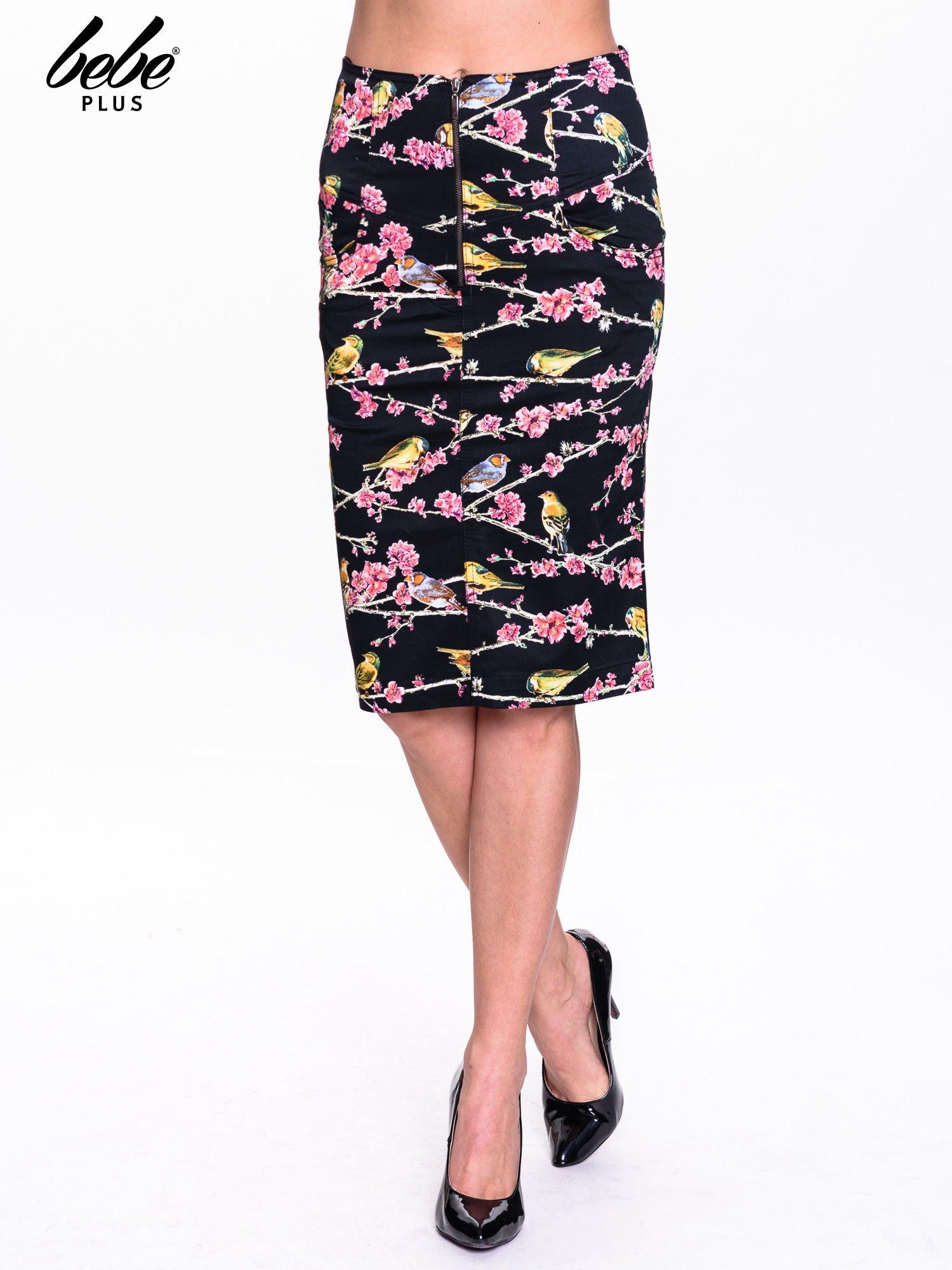 Czarna spódnica midi w ptaszki                                  zdj.                                  1