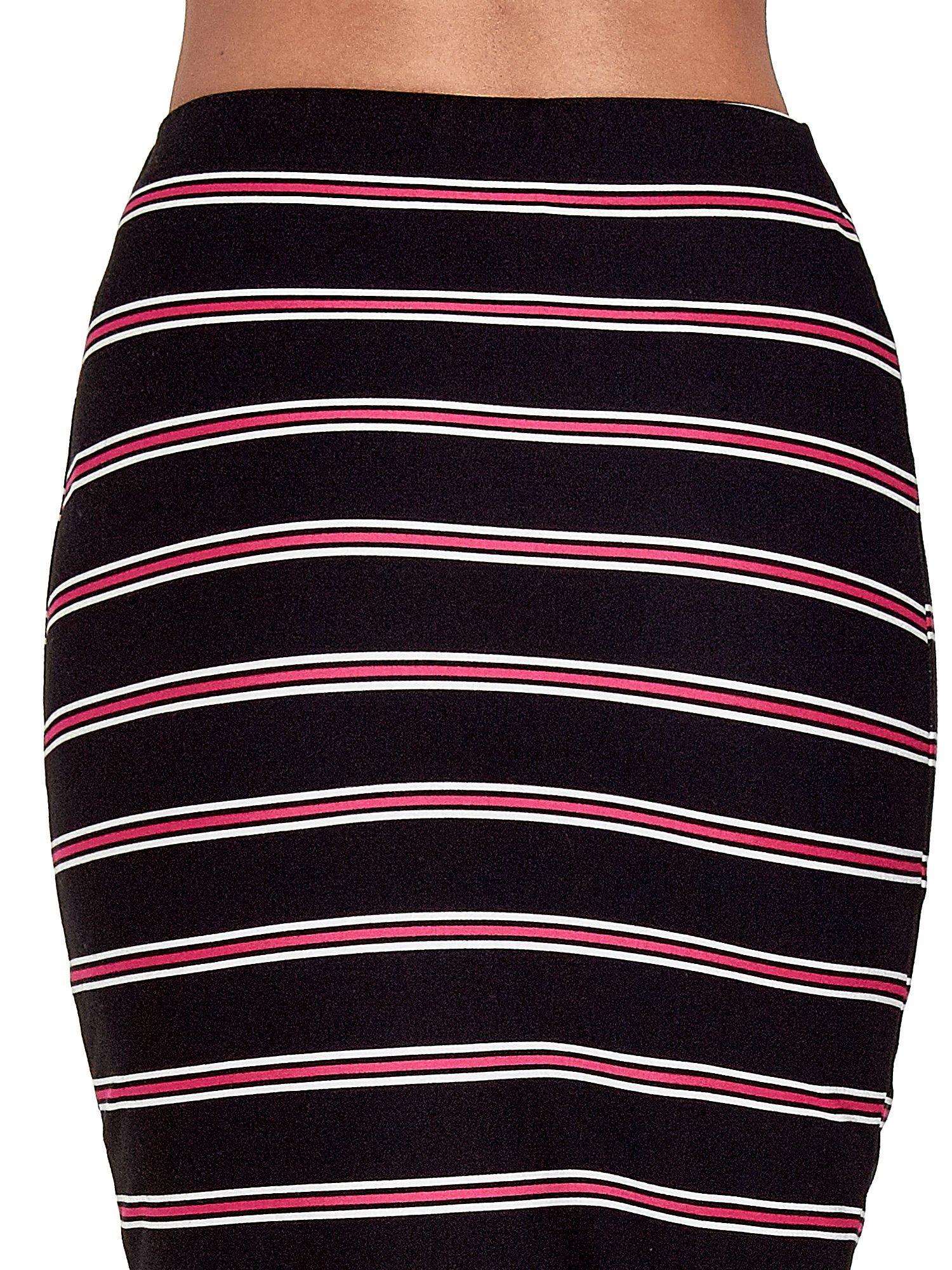 Czarna spódnica midi w różowe paski                                  zdj.                                  7