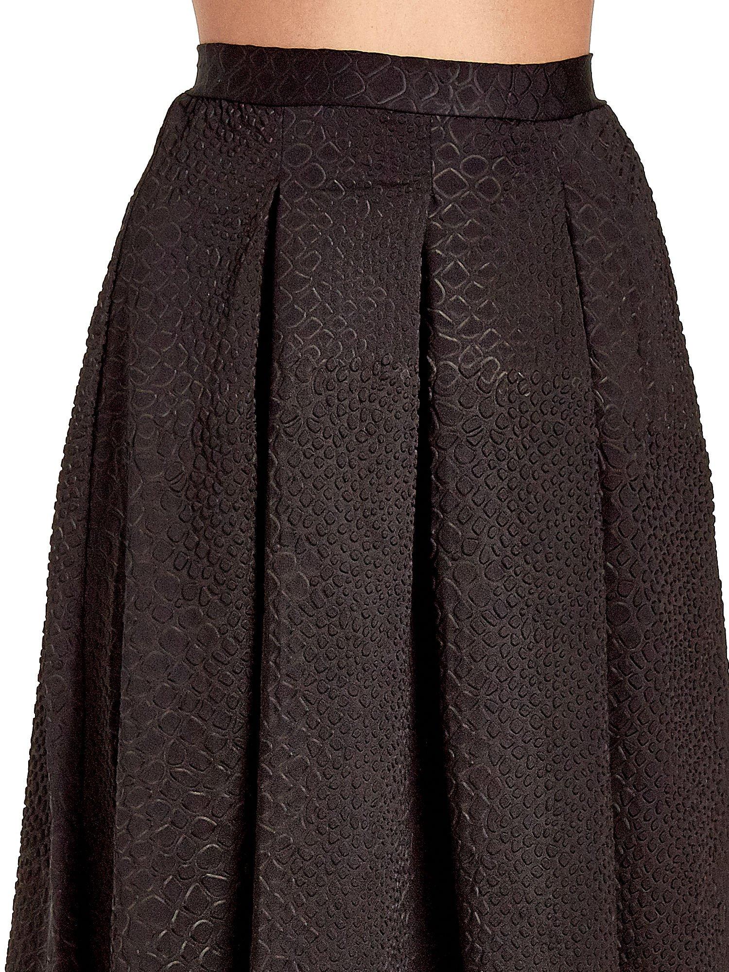 Czarna spódnica midi z kontrafałdami we wzór skóry węża                                  zdj.                                  5