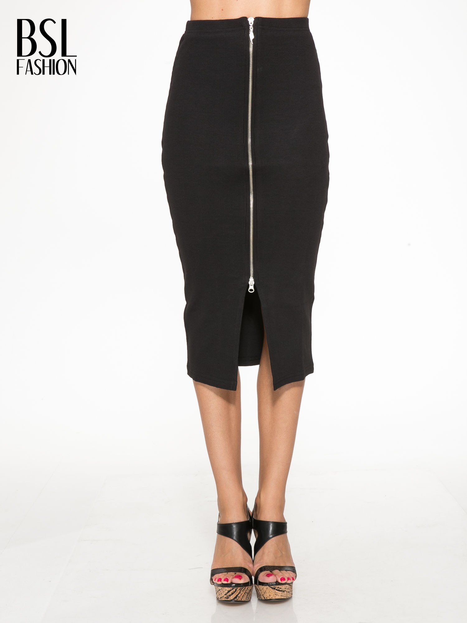 Czarna spódnica midi z suwakiem z przodu                                  zdj.                                  1