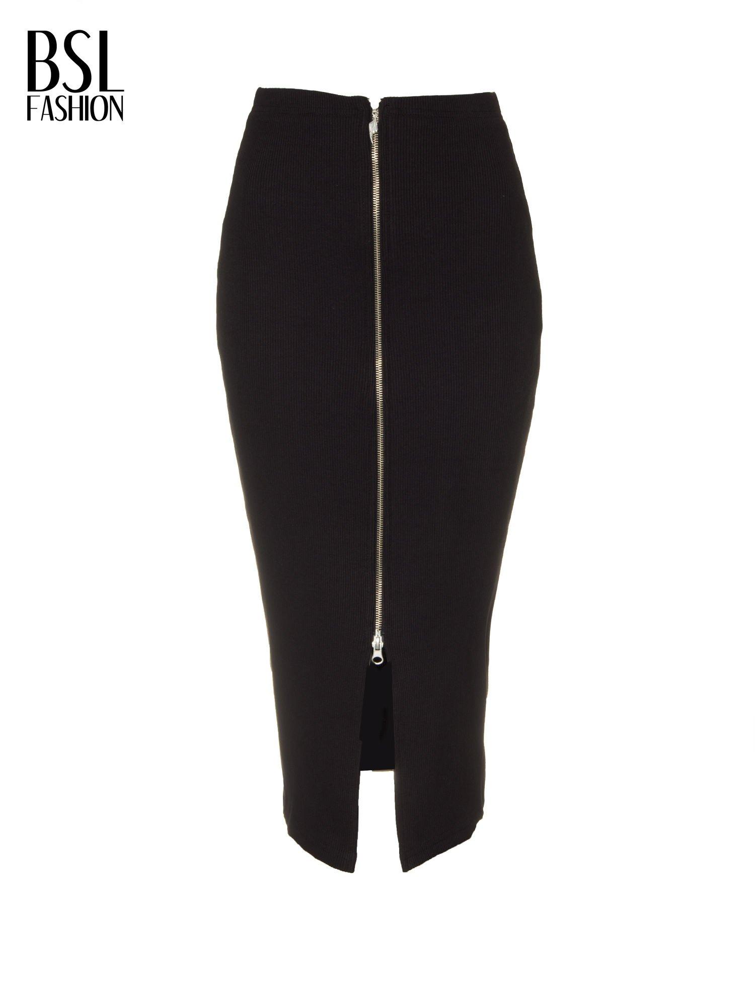 Czarna spódnica midi z suwakiem z przodu                                  zdj.                                  2