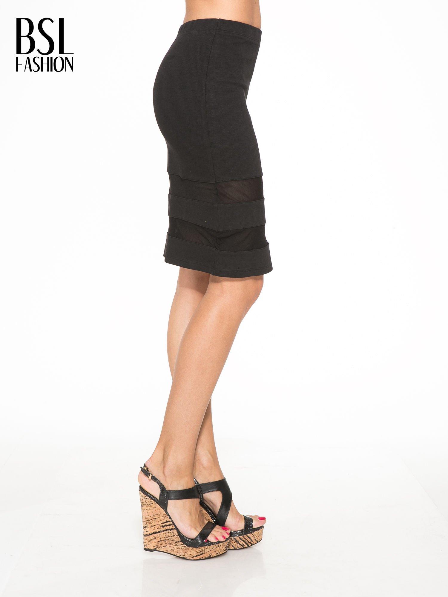 Czarna spódnica tuba z transparentnymi panelami                                  zdj.                                  3