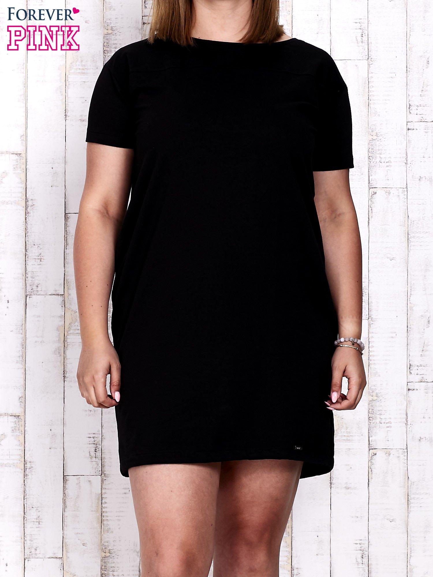 Czarna sukienka dresowa ze ściągaczem na dole                                  zdj.                                  1